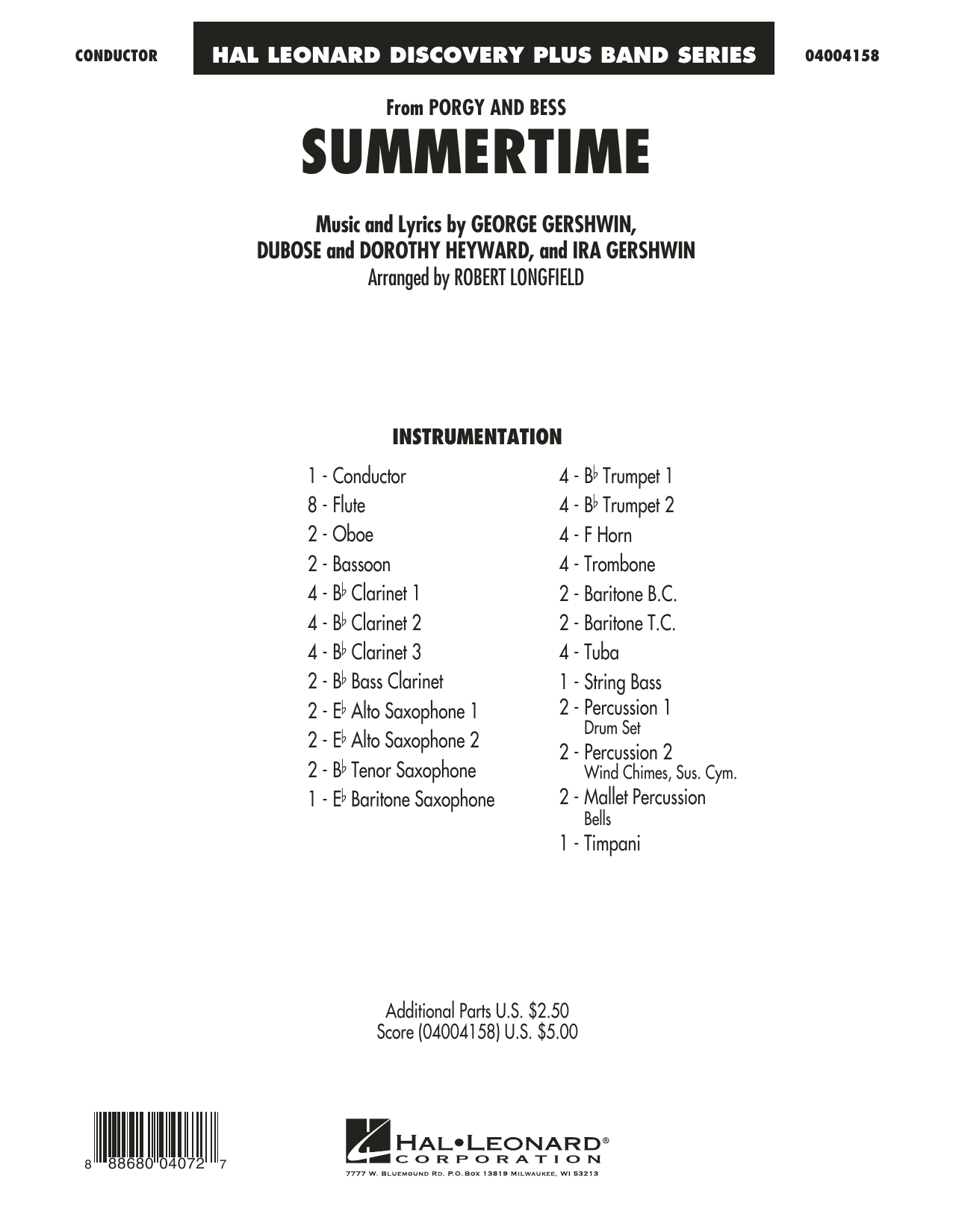 Summertime (from Porgy and Bess) - Conductor Score (Full Score) (Concert Band)