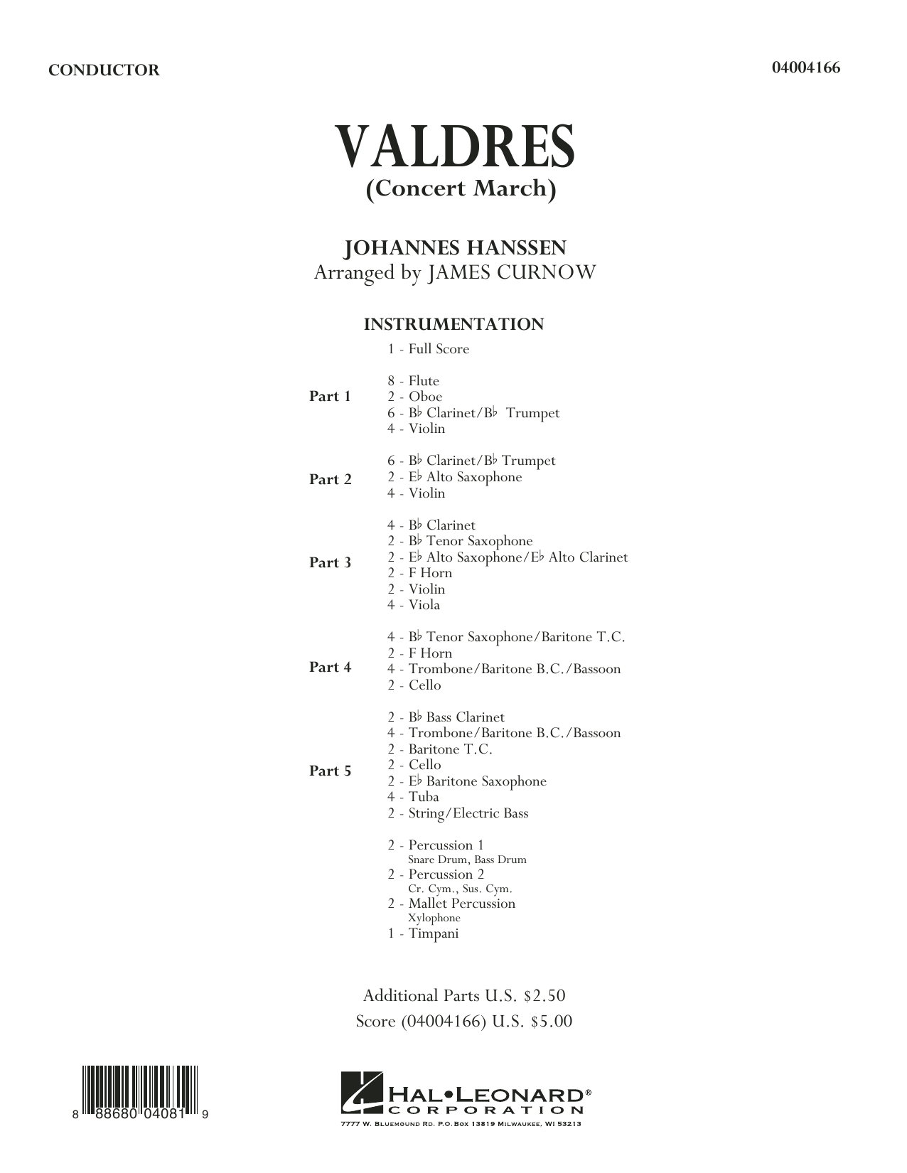 Valdres (Concert March) (COMPLETE) sheet music for concert band by James Curnow and Johannes Hanssen. Score Image Preview.