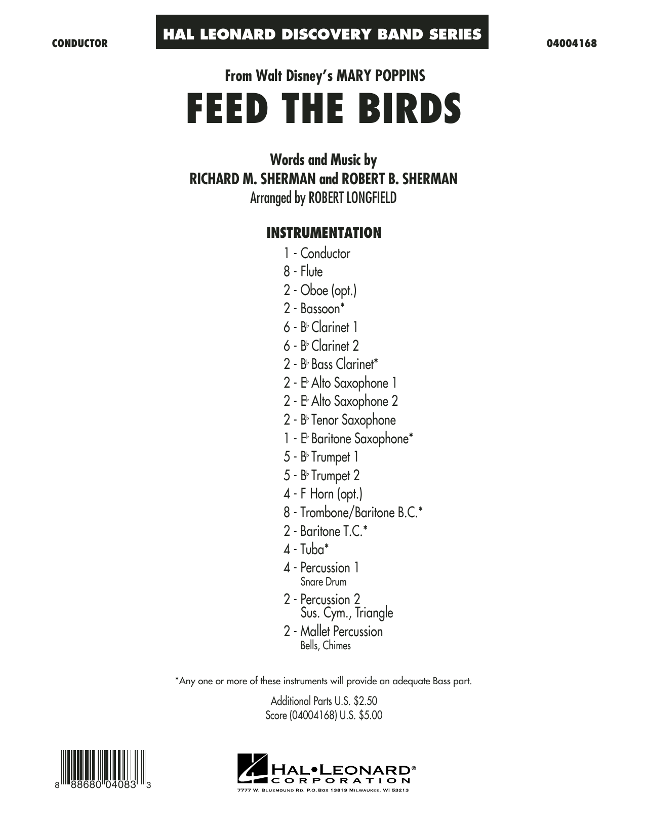 Feed the Birds (from Mary Poppins) (COMPLETE) sheet music for concert band by Robert Longfield, Richard M. Sherman and Robert B. Sherman. Score Image Preview.