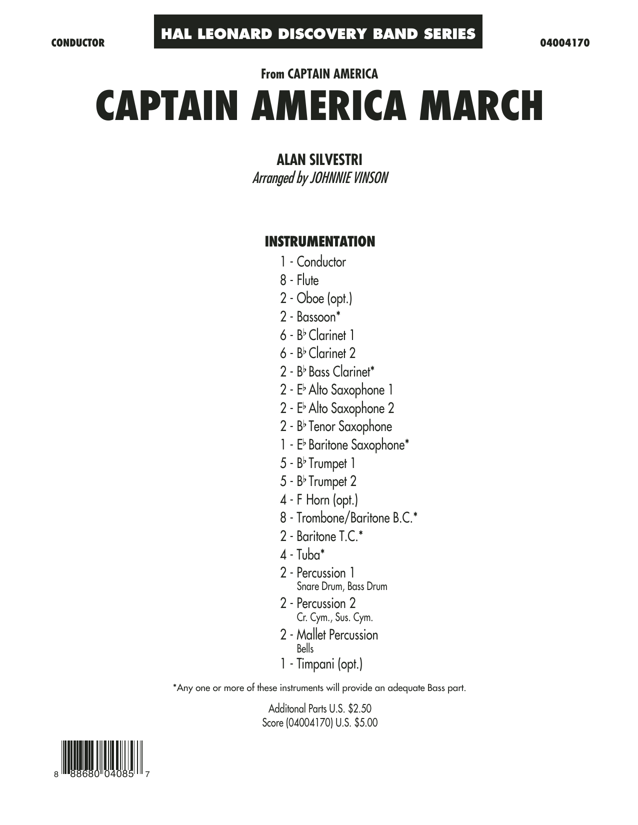 Captain America March (COMPLETE) sheet music for concert band by Johnnie Vinson and Alan Silvestri. Score Image Preview.