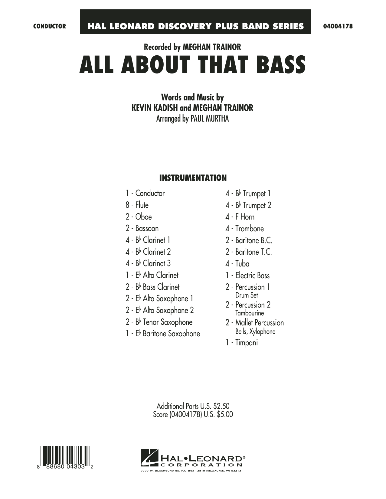 All About That Bass (COMPLETE) sheet music for concert band by Paul Murtha, Kevin Kadish and Meghan Trainor. Score Image Preview.