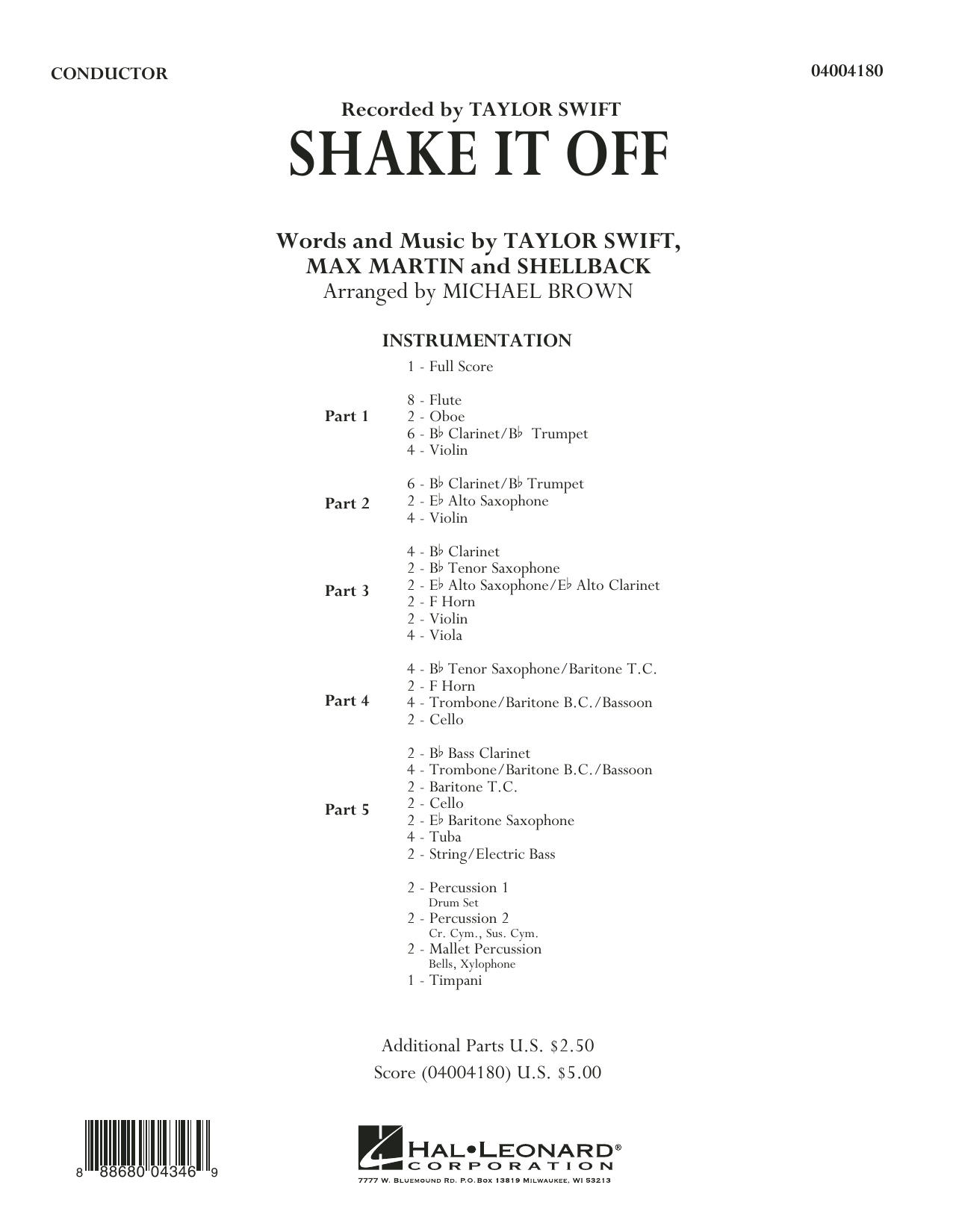 Shake It Off (COMPLETE) sheet music for concert band by Taylor Swift, Johan Schuster, Max Martin, Michael Brown and Shellback. Score Image Preview.