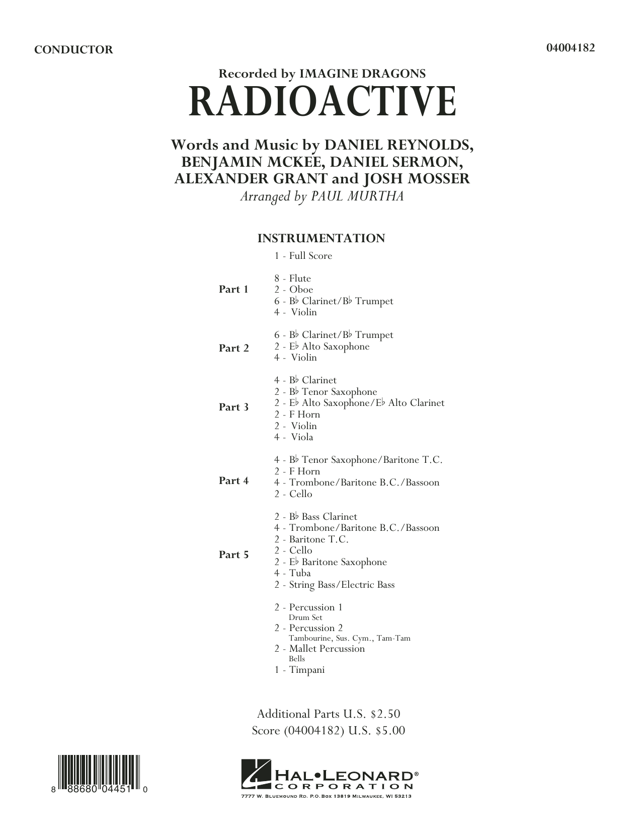 Radioactive (COMPLETE) sheet music for concert band by Paul Murtha, Alexander Grant, Daniel Reynolds, Daniel Sermon, Imagine Dragons and Josh Mosser. Score Image Preview.