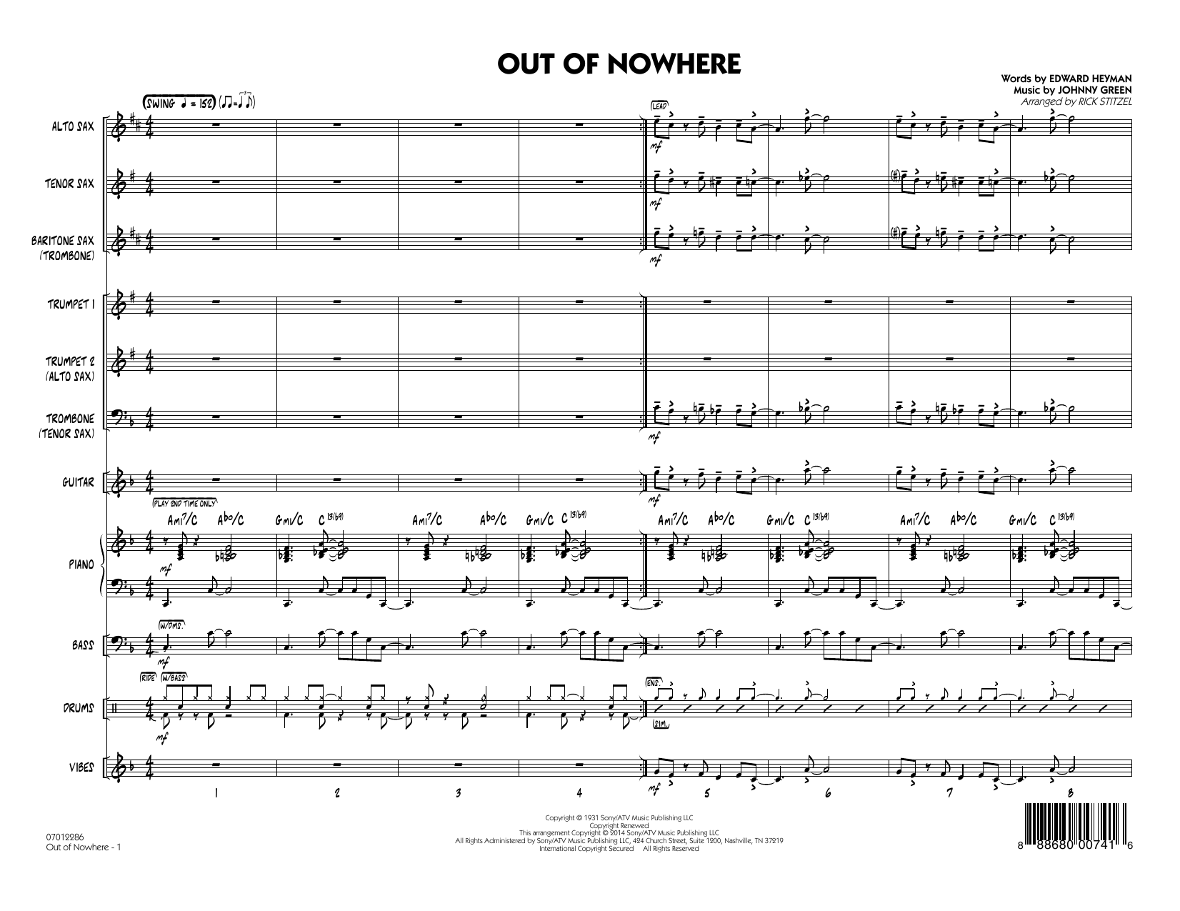 Out of Nowhere (COMPLETE) sheet music for jazz band by Rick Stitzel, Edward Heyman and Johnny Green. Score Image Preview.