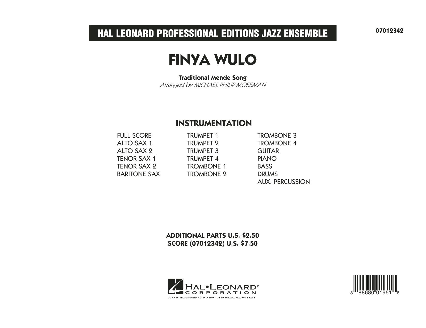 Finya Wulo - Conductor Score (Full Score) (Jazz Ensemble)