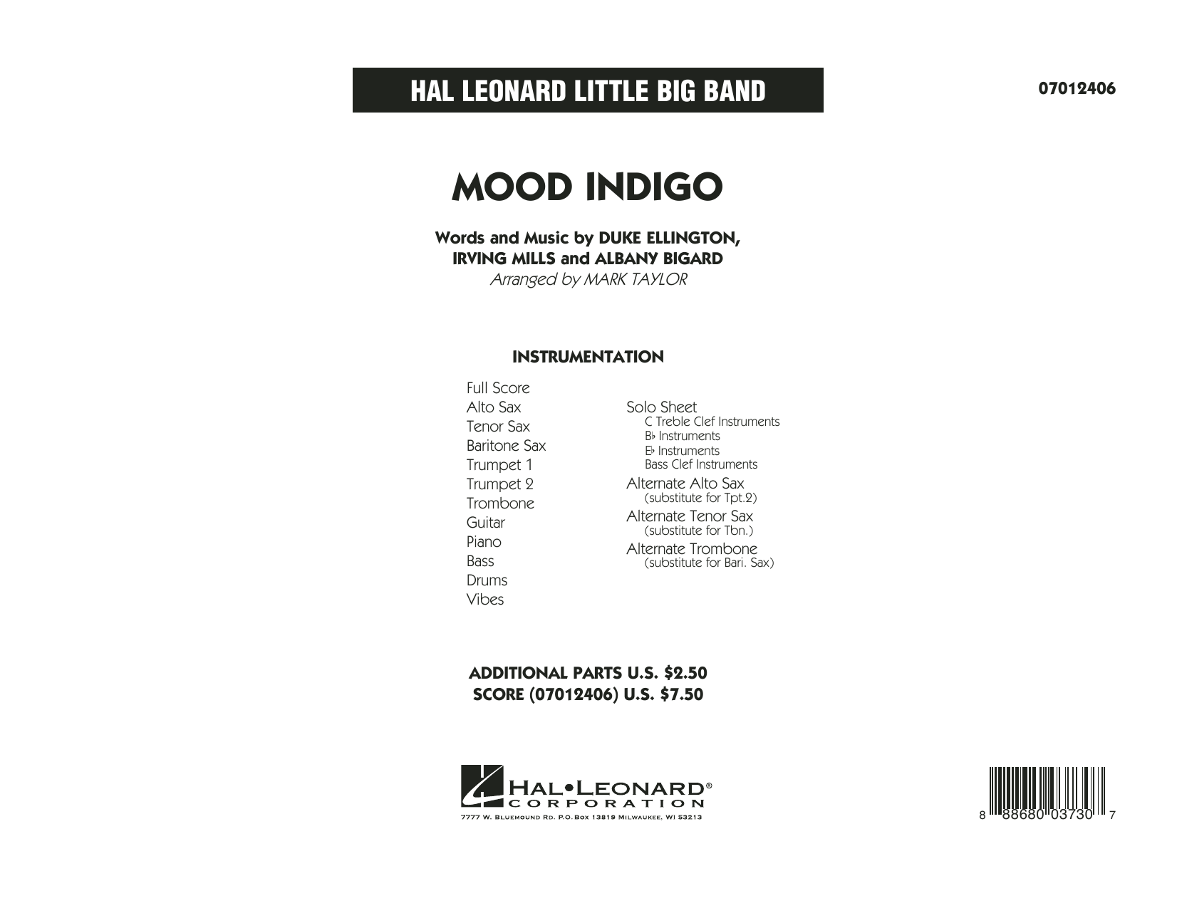 Mood Indigo (COMPLETE) sheet music for jazz band by Mark Taylor, Albany Bigard, Duke Ellington and Irving Mills. Score Image Preview.