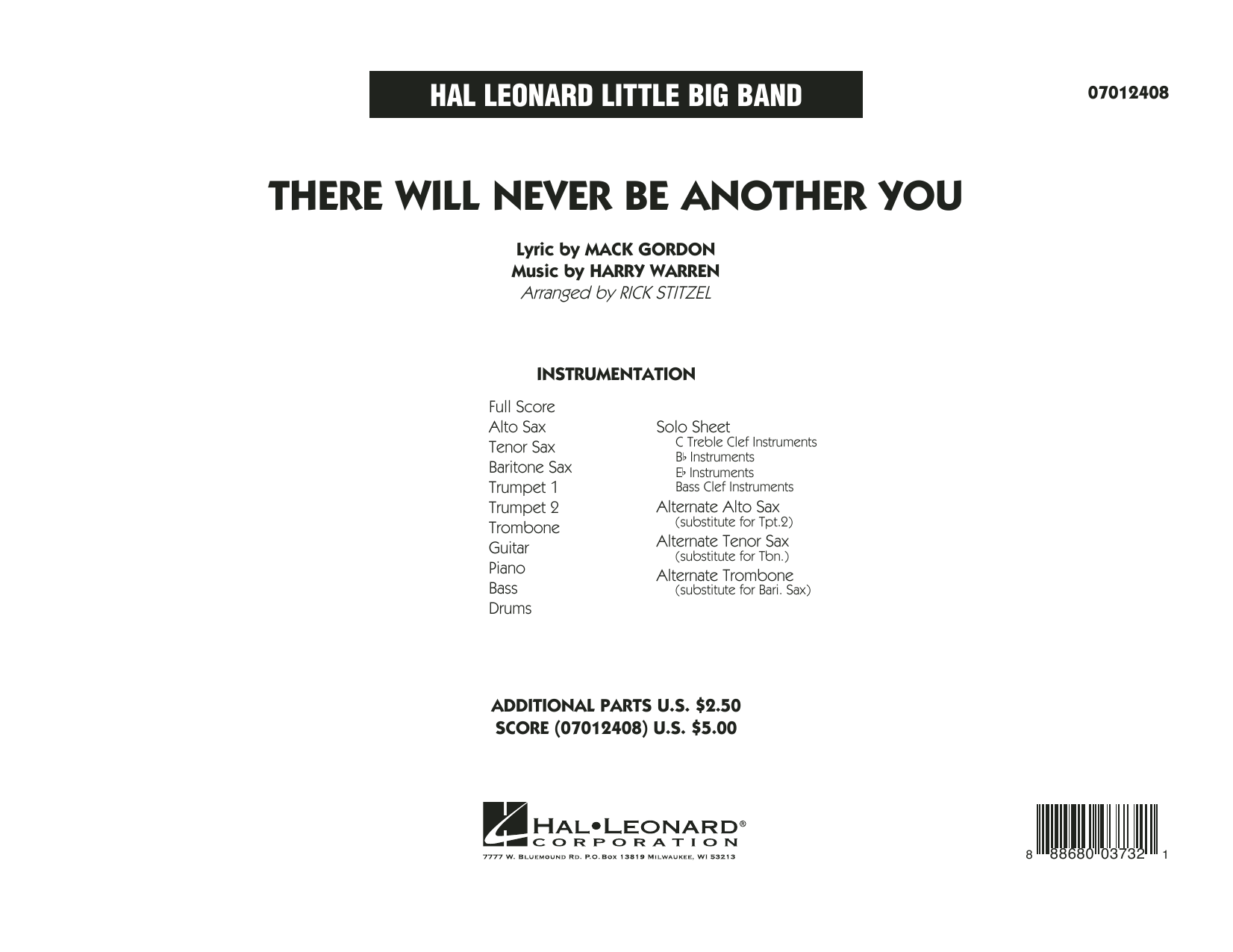 There Will Never Be Another You - Full Score (Jazz Ensemble)