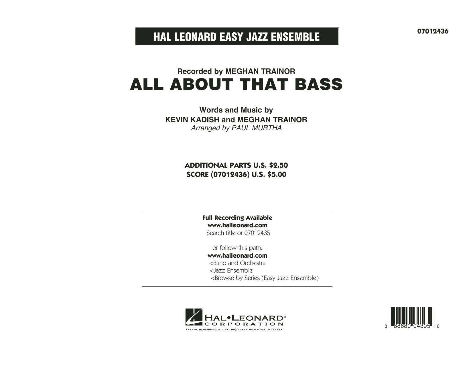 All About That Bass (COMPLETE) sheet music for jazz band by Paul Murtha, Kevin Kadish and Meghan Trainor. Score Image Preview.