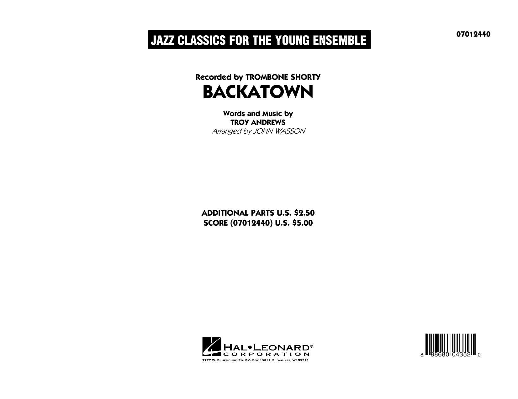 Backatown (COMPLETE) sheet music for jazz band by John Wasson and Troy Andrews. Score Image Preview.