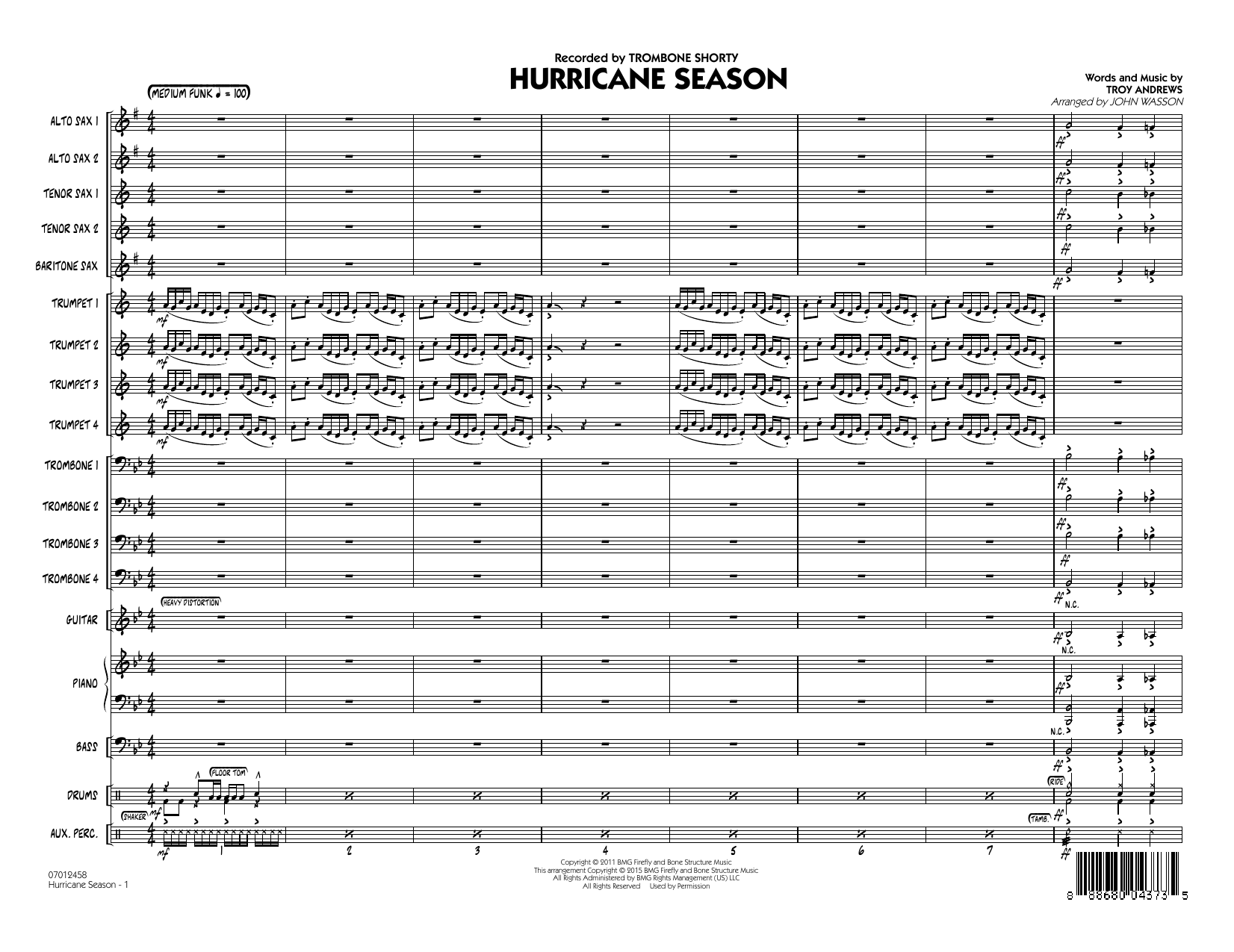 Hurricane Season (COMPLETE) sheet music for jazz band by John Wasson and Trombone Shorty. Score Image Preview.