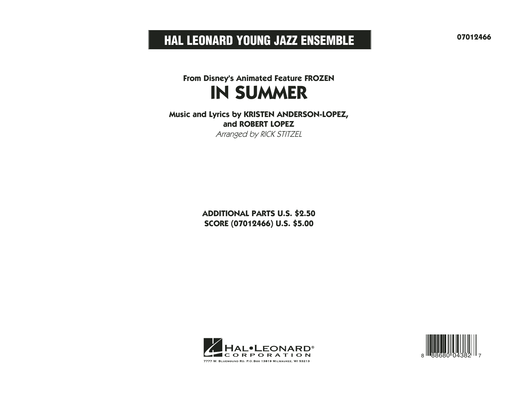 In Summer (from Frozen) (COMPLETE) sheet music for jazz band by Rick Stitzel, Kristen Anderson-Lopez and Robert Lopez. Score Image Preview.