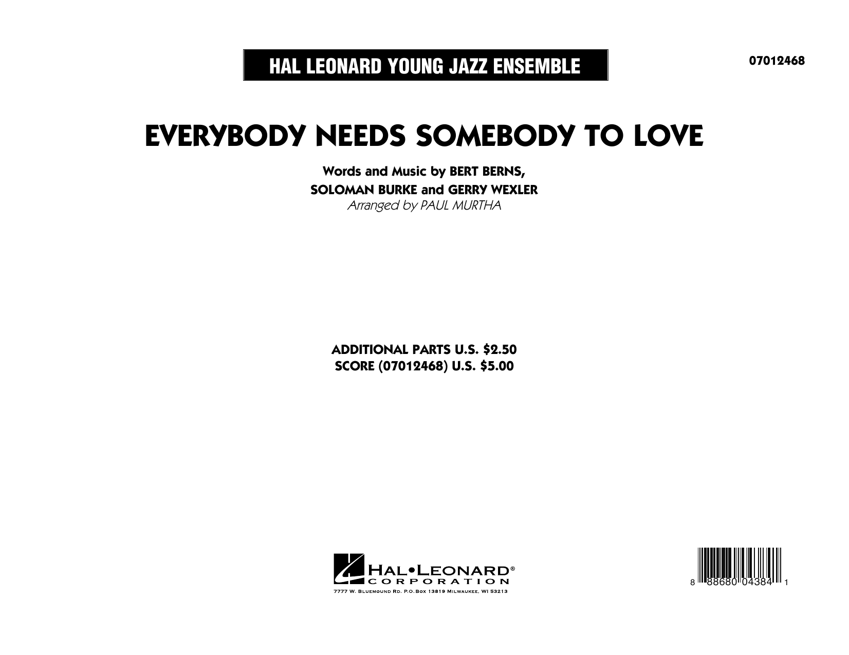 Everybody Needs Somebody to Love - Conductor Score (Full Score) (Jazz Ensemble)