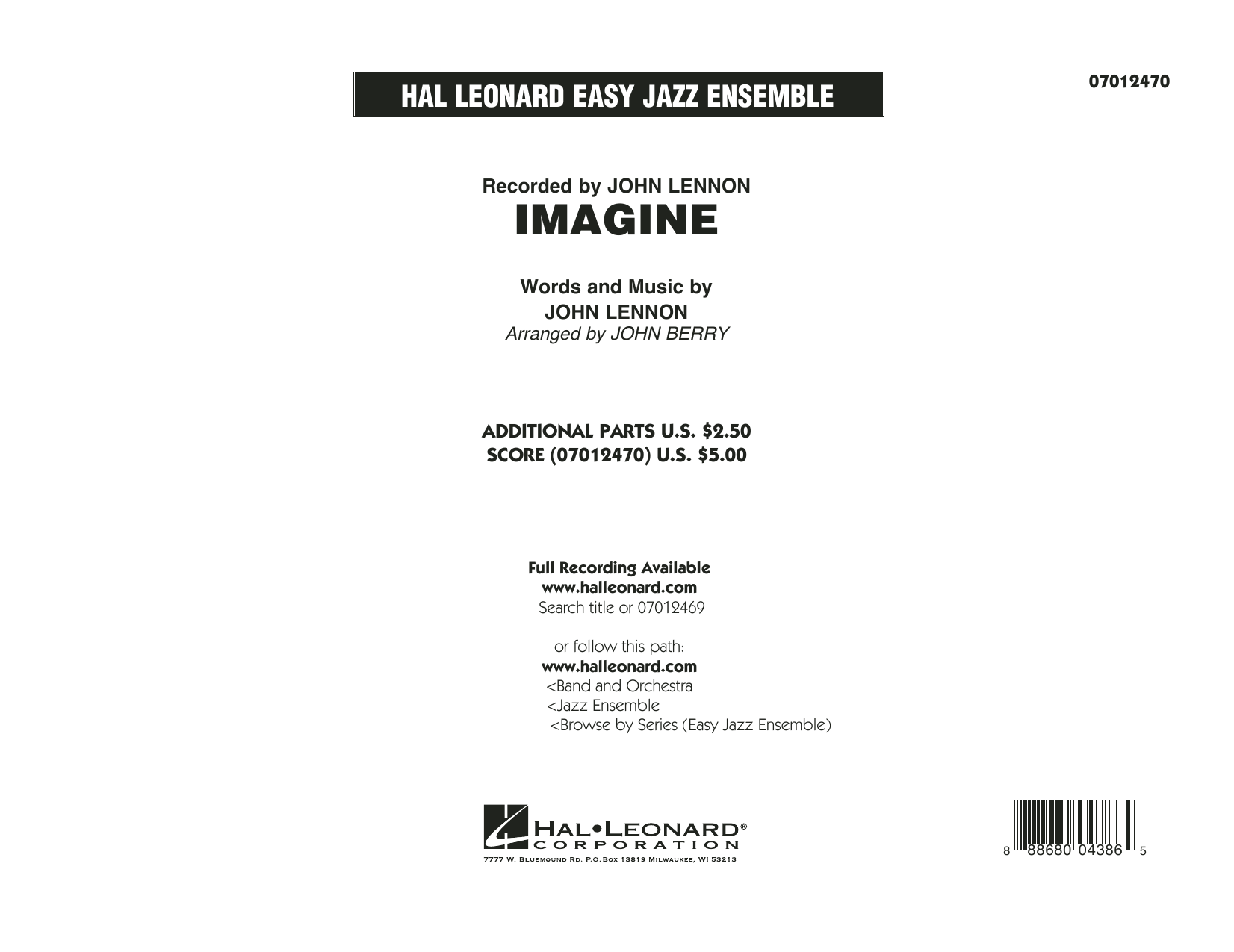 Imagine (COMPLETE) sheet music for jazz band by John Berry, David Archuleta and John Lennon. Score Image Preview.