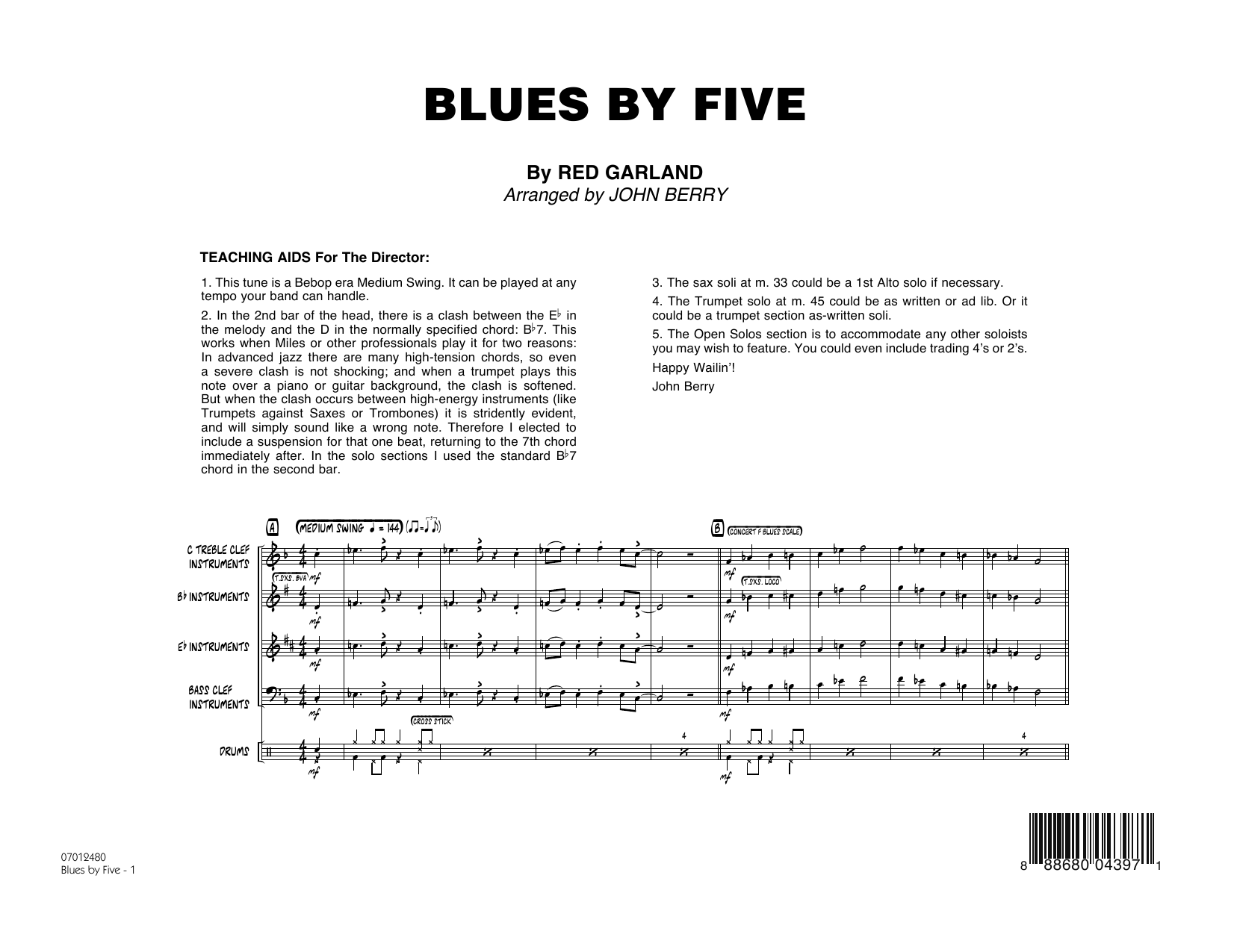 Blues by Five (COMPLETE) sheet music for jazz band by Red Garland, John Berry and Miles Davis. Score Image Preview.