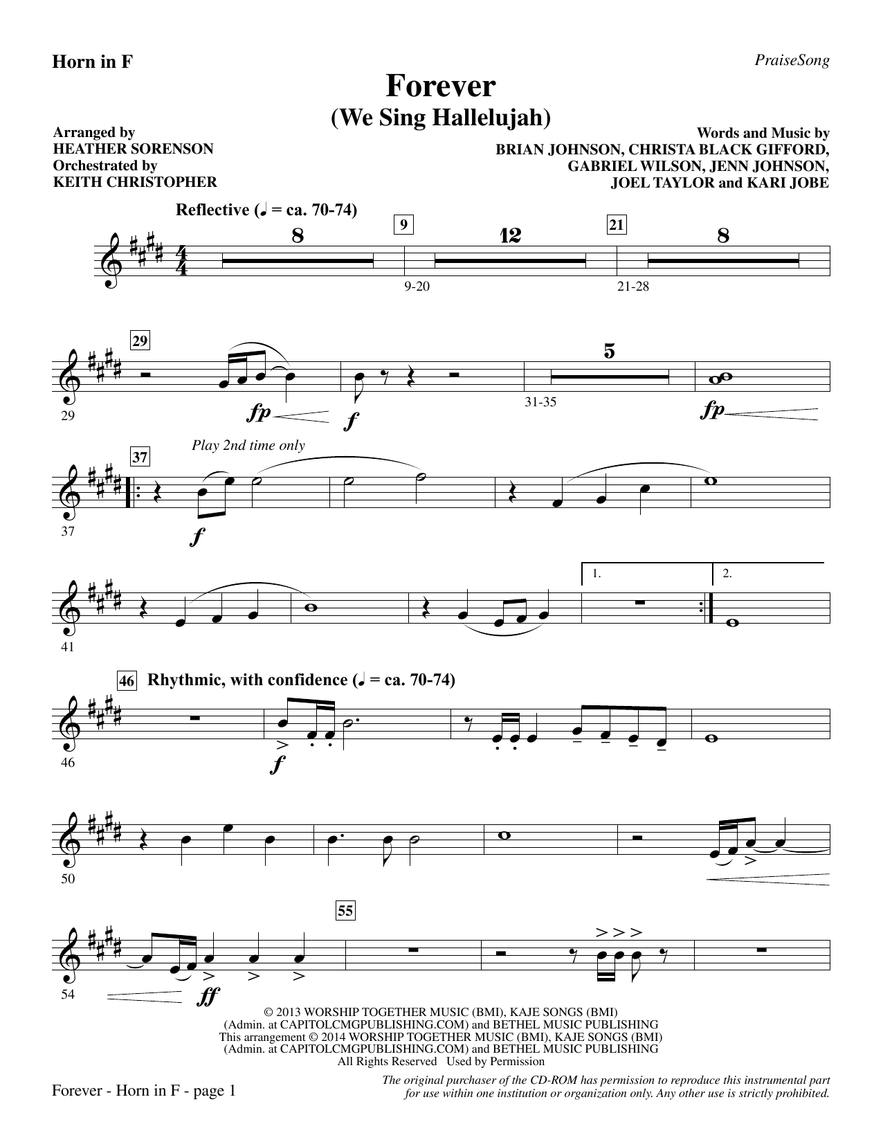 Forever (We Sing Hallelujah) - F Horn Sheet Music