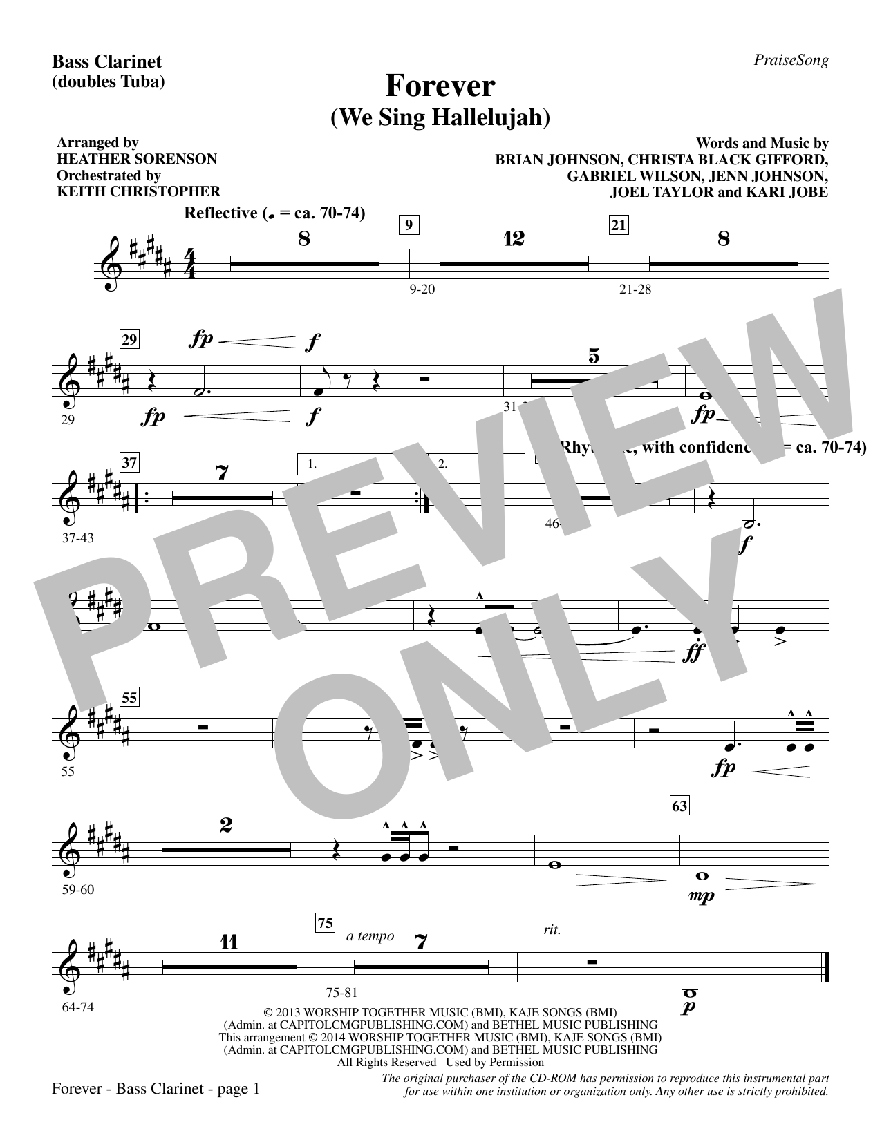 Forever (We Sing Hallelujah) - Bass Clarinet (sub. Tuba) (Choir Instrumental Pak)
