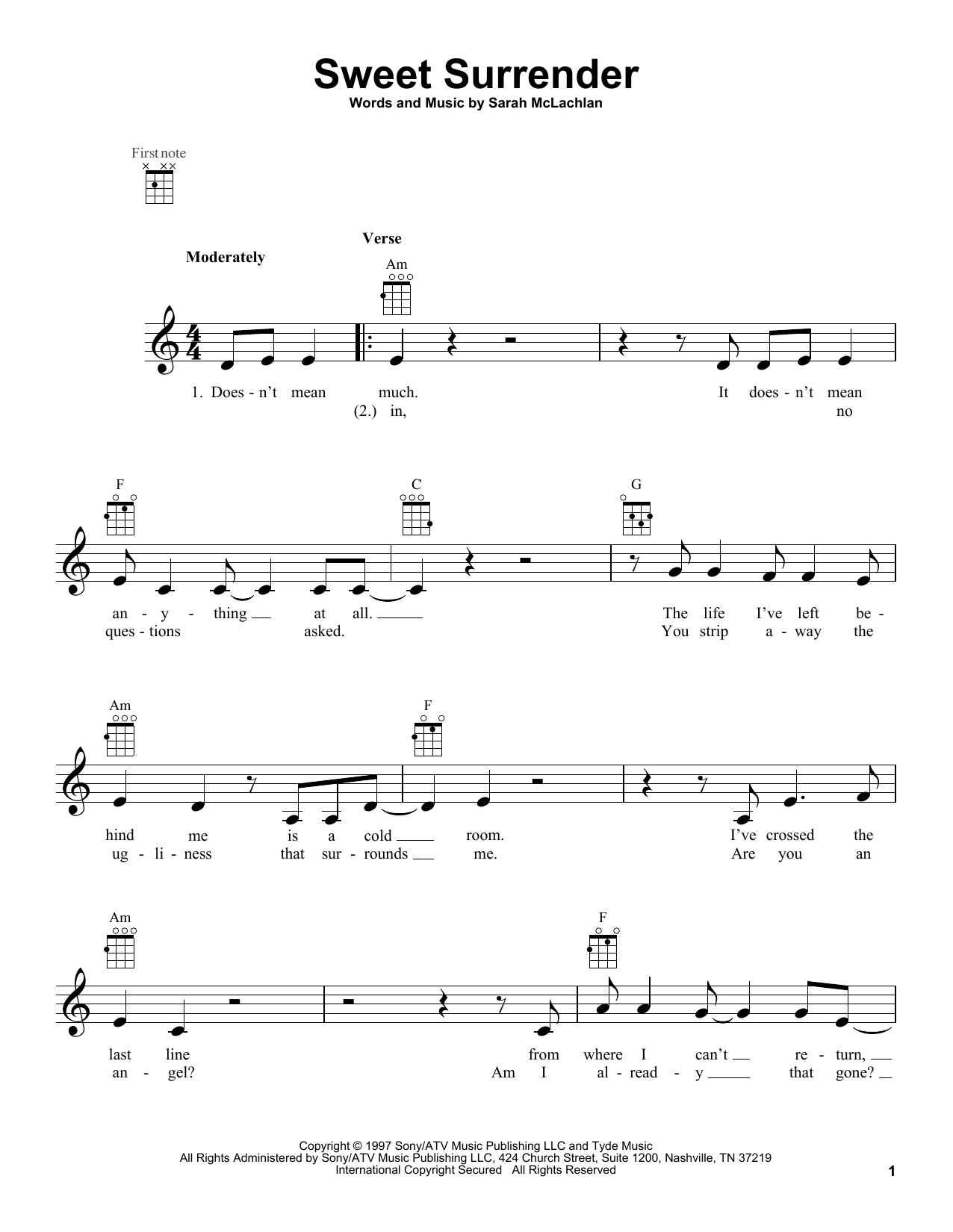 Tablature guitare Sweet Surrender de Sarah McLachlan - Ukulele