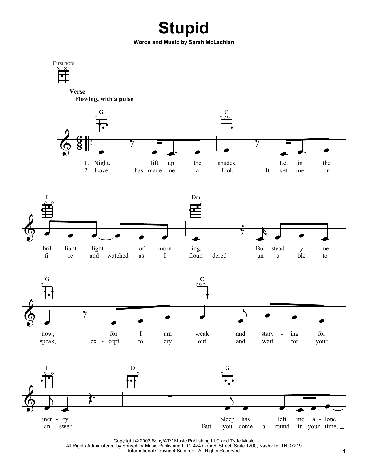 Tablature guitare Stupid de Sarah McLachlan - Ukulele