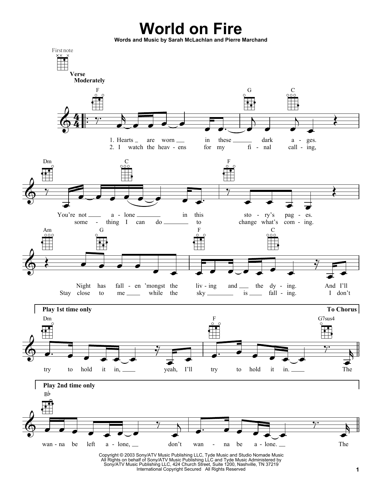 World On Fire Sheet Music