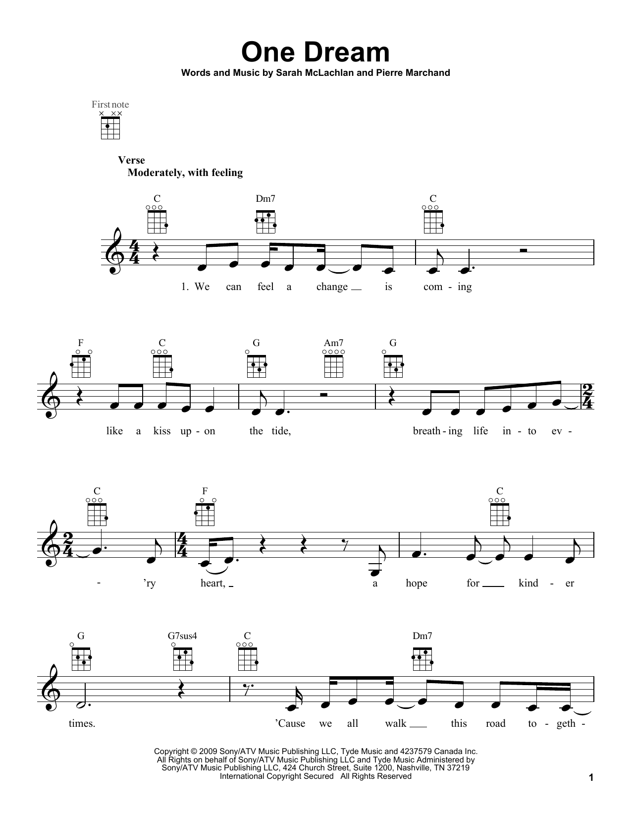 Tablature guitare One Dream de Sarah McLachlan - Ukulele