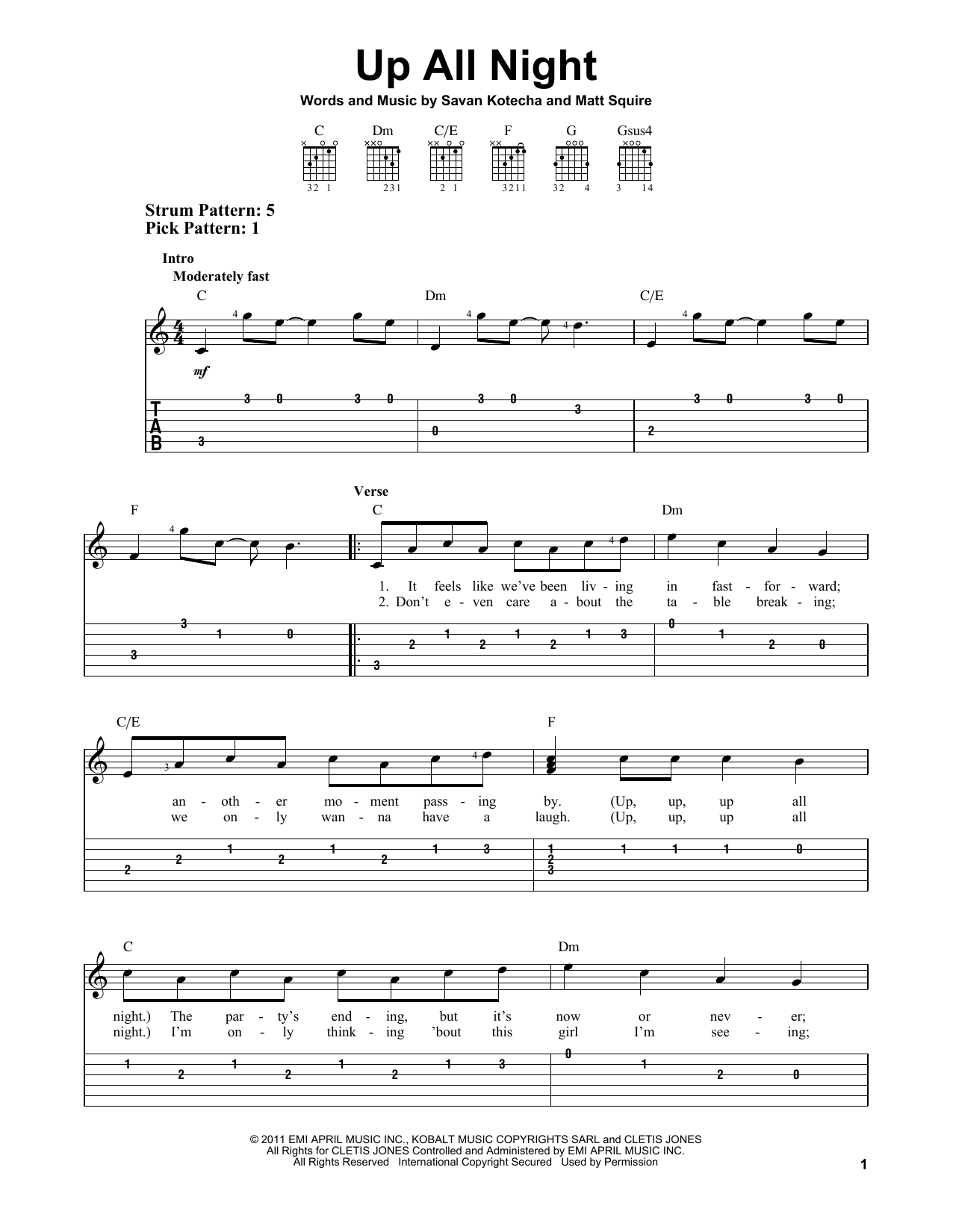 Up All Night (Easy Guitar Tab)