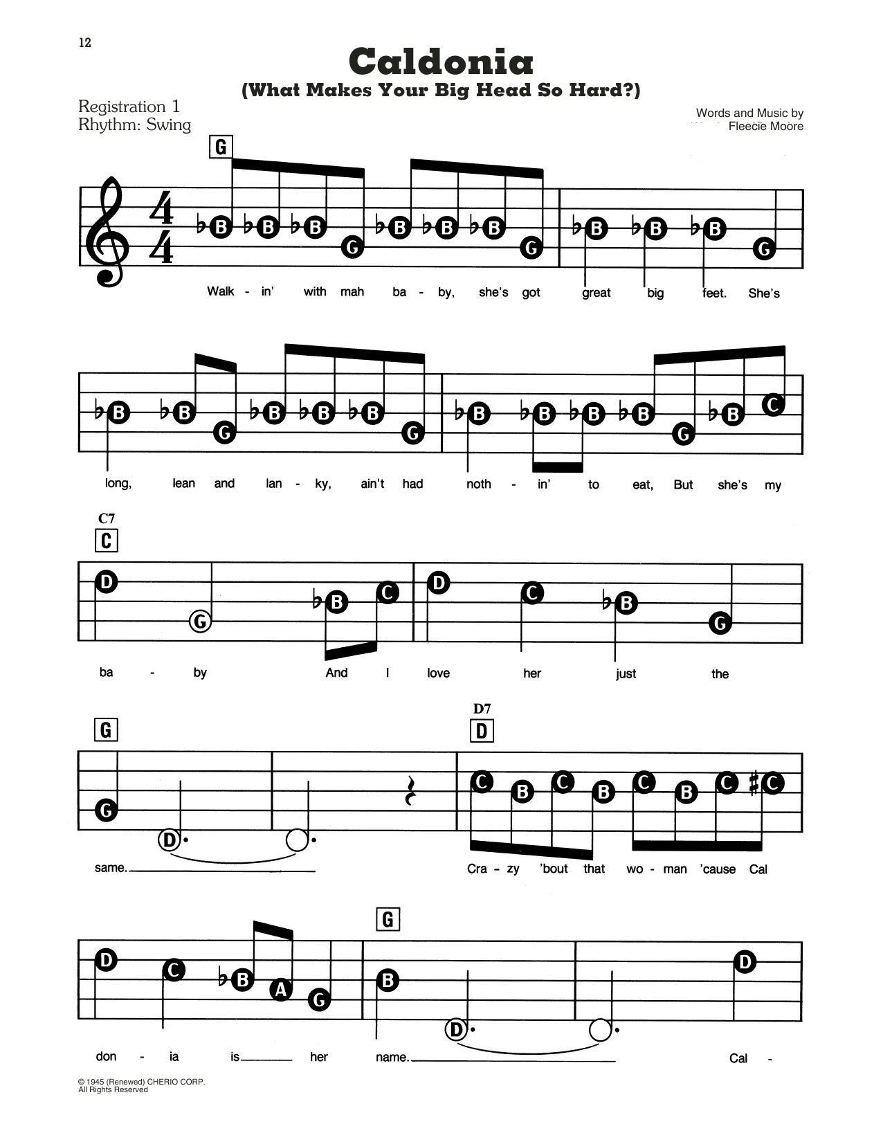 Caldonia (What Makes Your Big Head So Hard?) Sheet Music