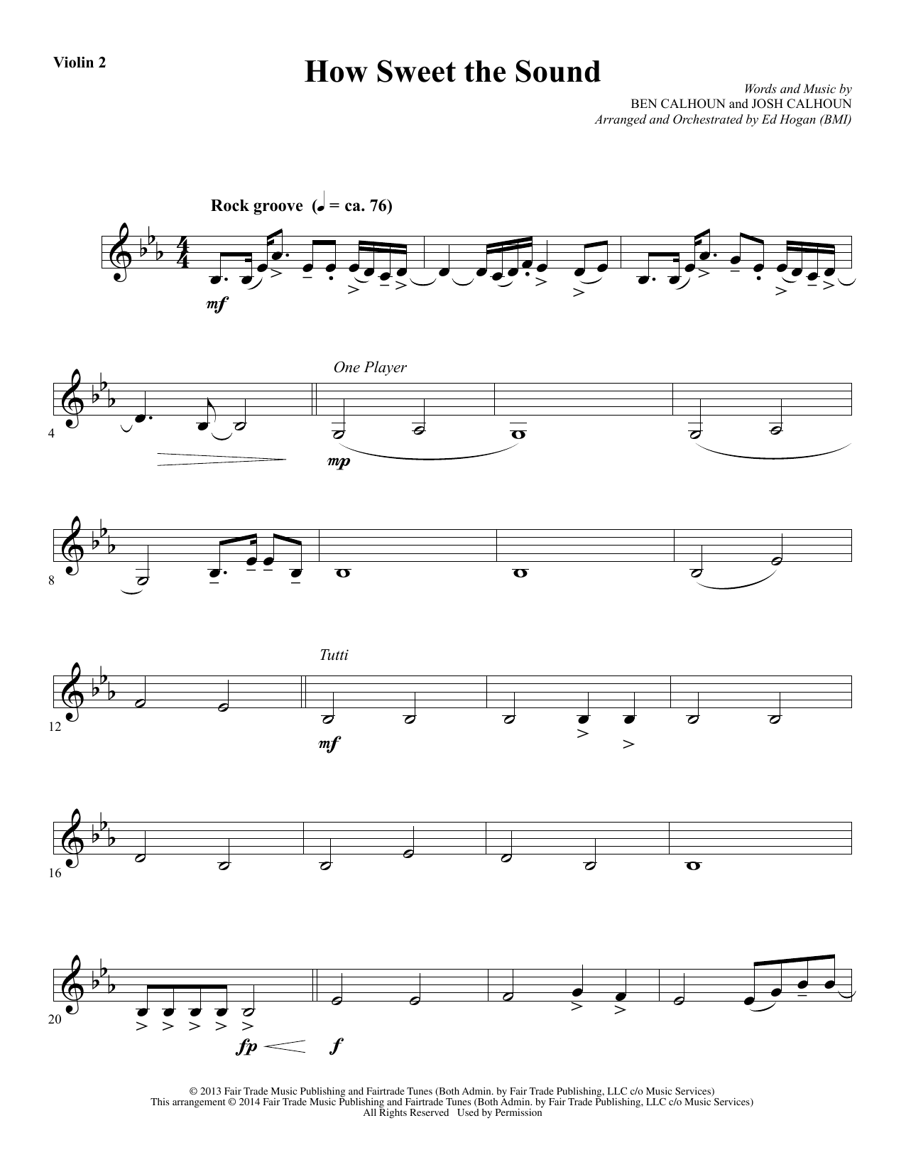 How Sweet the Sound - Violin 2 Sheet Music