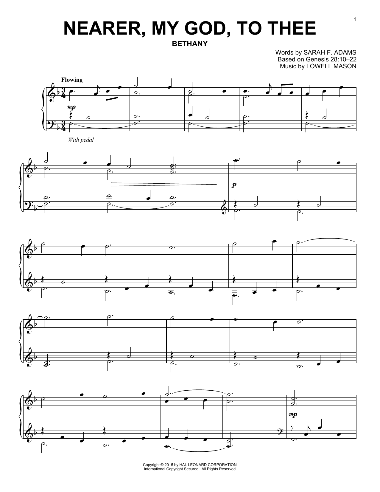 Partition piano Nearer, My God, To Thee de Lowell Mason - Piano Solo