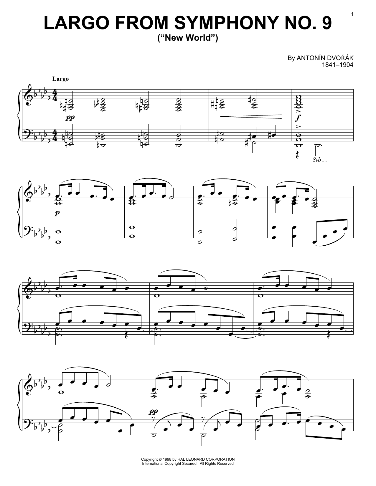 "Partition piano Largo From Symphony No. 9 (""New World"") de Antonin Dvorak - Piano Solo"