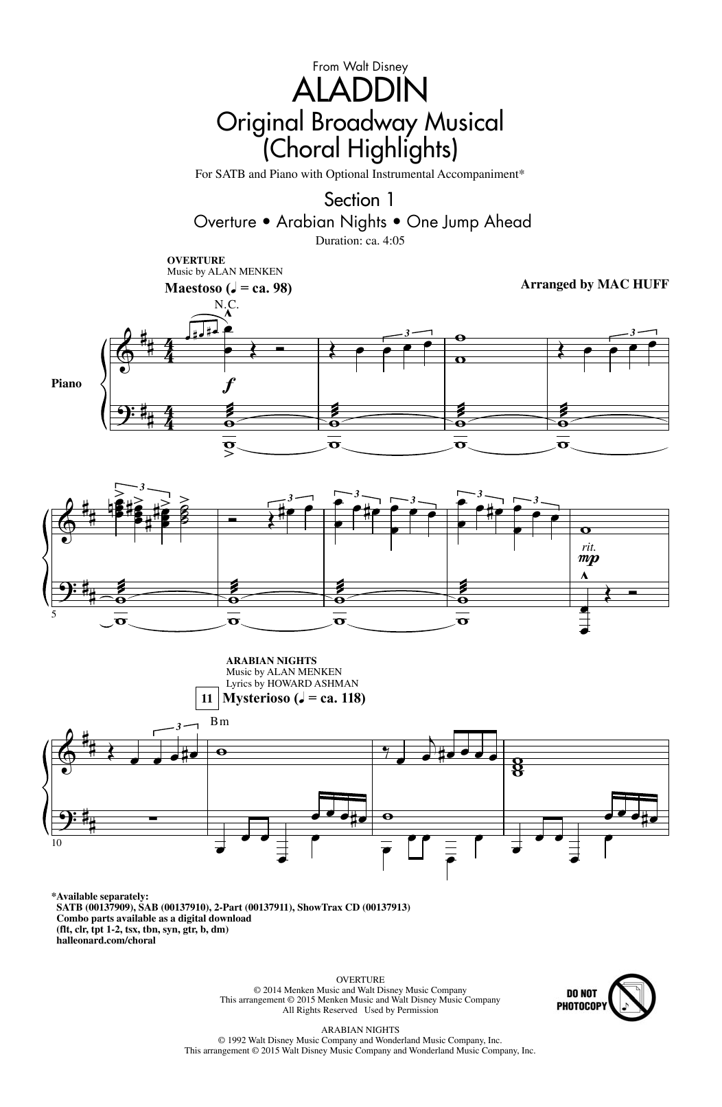 Partition chorale Arabian Nights de Tim Rice - SATB