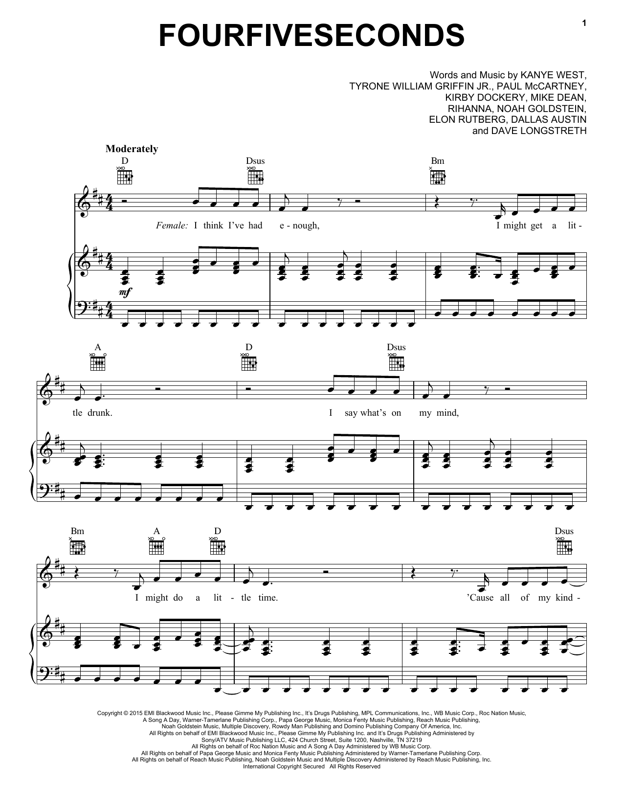 FourFiveSeconds (feat. Kanye West and Paul McCartney) Sheet Music