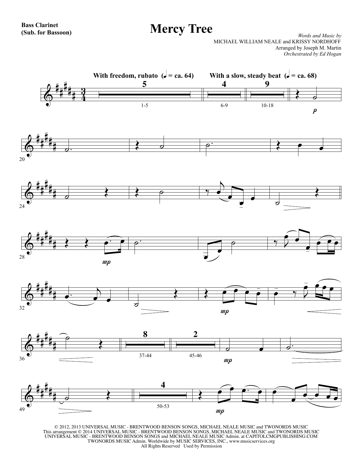 Mercy Tree - Bass Clarinet (sub. Bassoon) (Choir Instrumental Pak)
