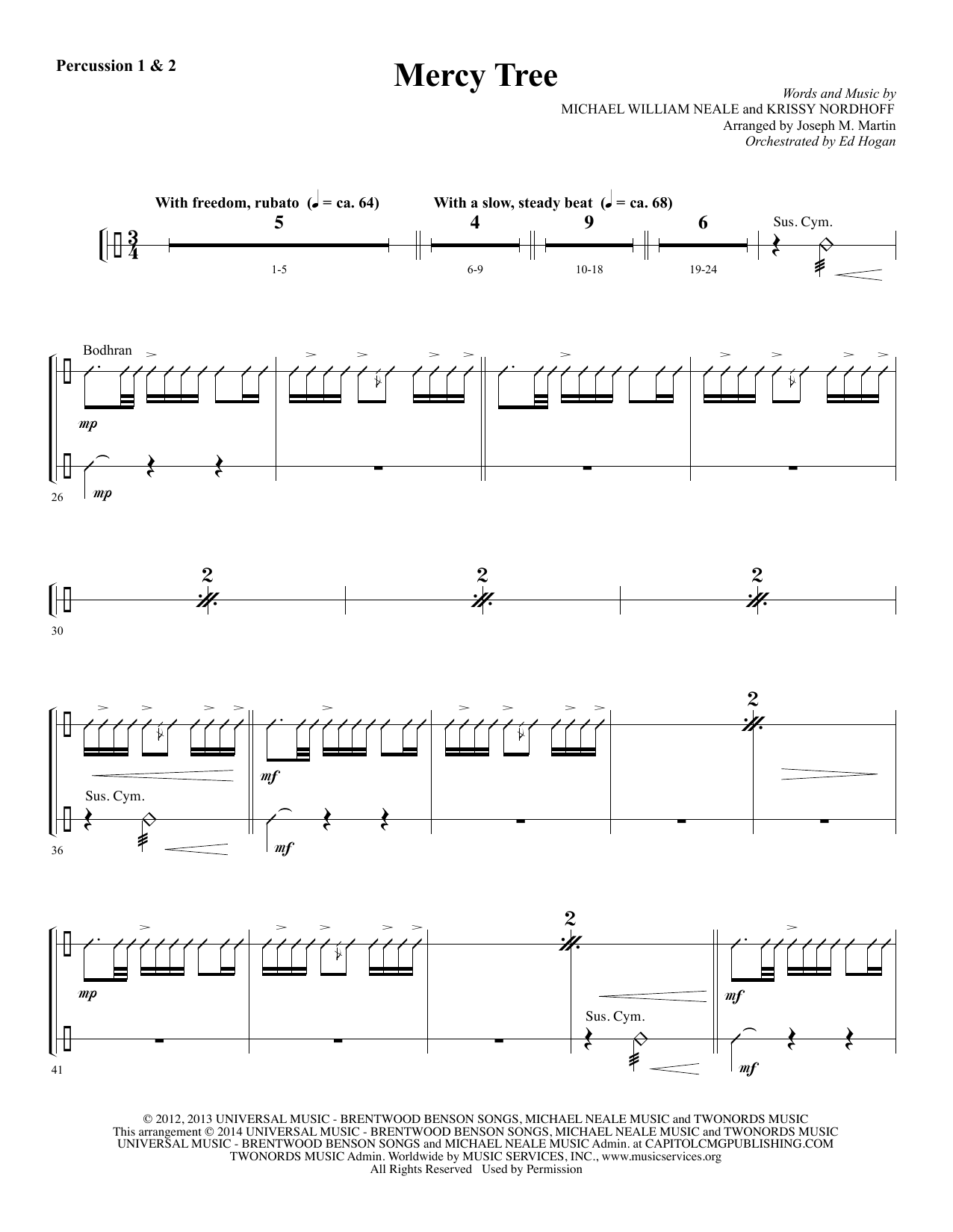 Mercy Tree - Percussion 1 & 2 Sheet Music