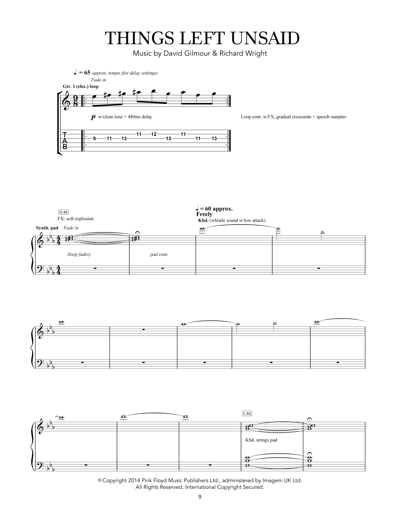 Things Left Unsaid Sheet Music