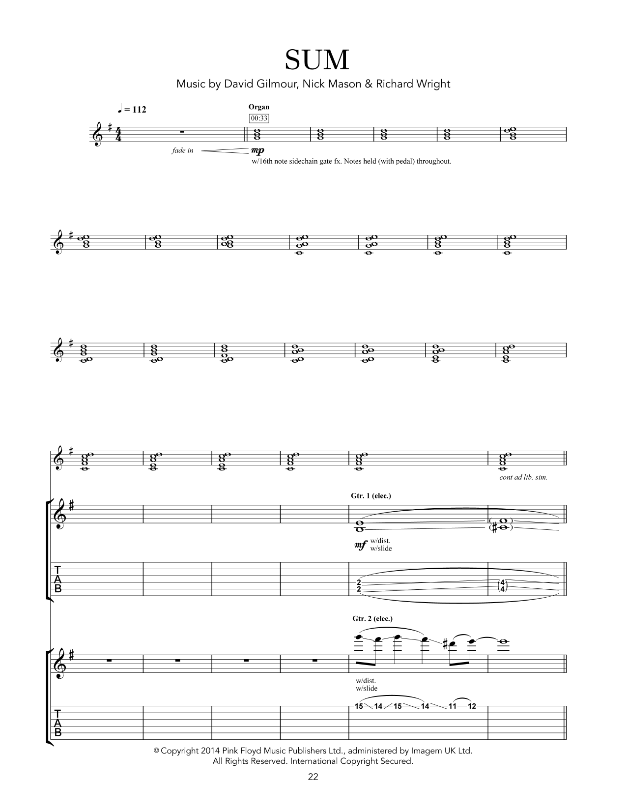 Sum Sheet Music