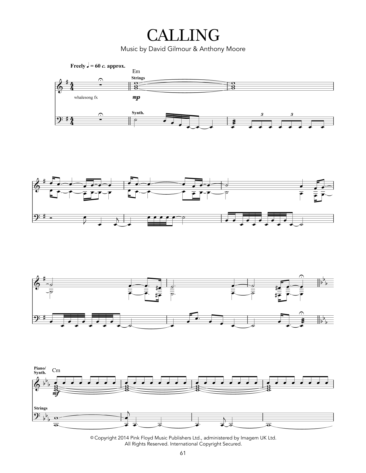 Tablature guitare Calling de Pink Floyd - Tablature Guitare