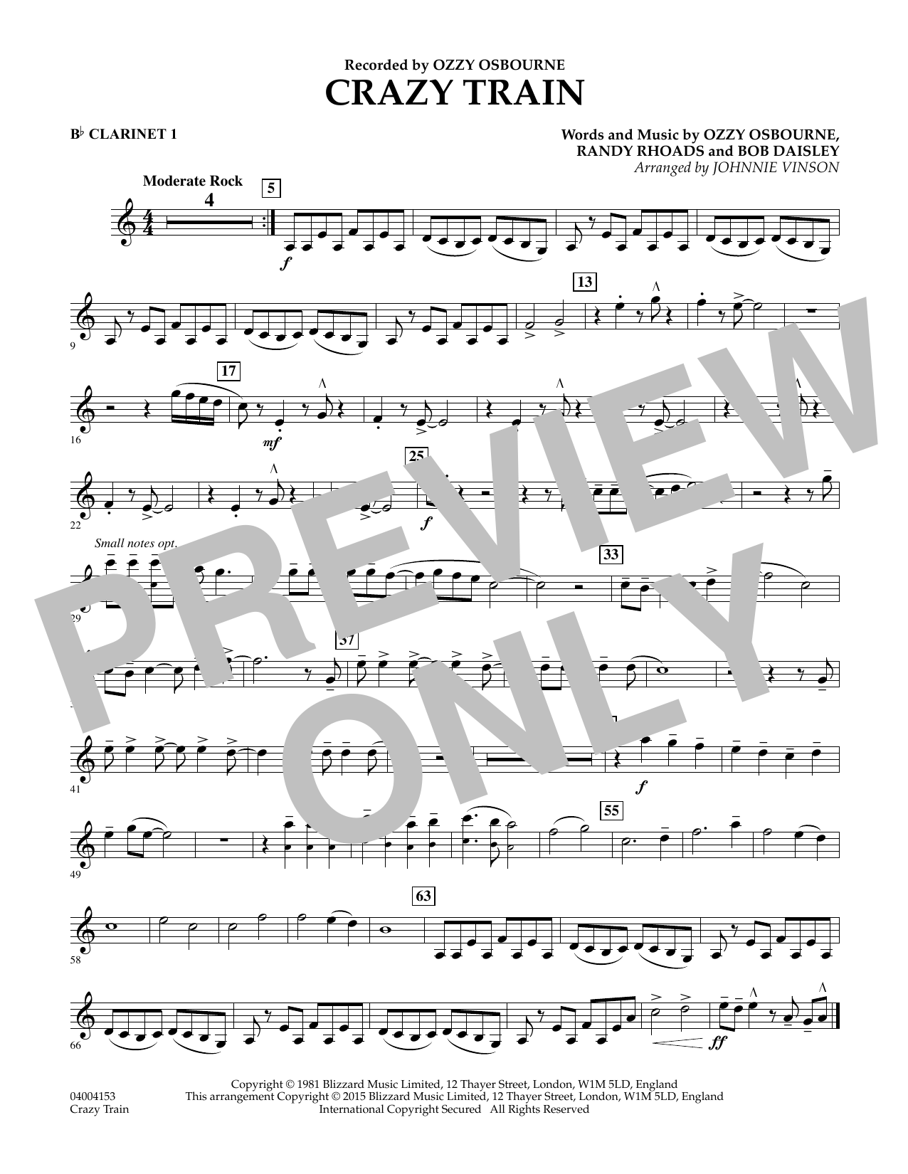 Crazy Train - Bb Clarinet 1 (Concert Band)