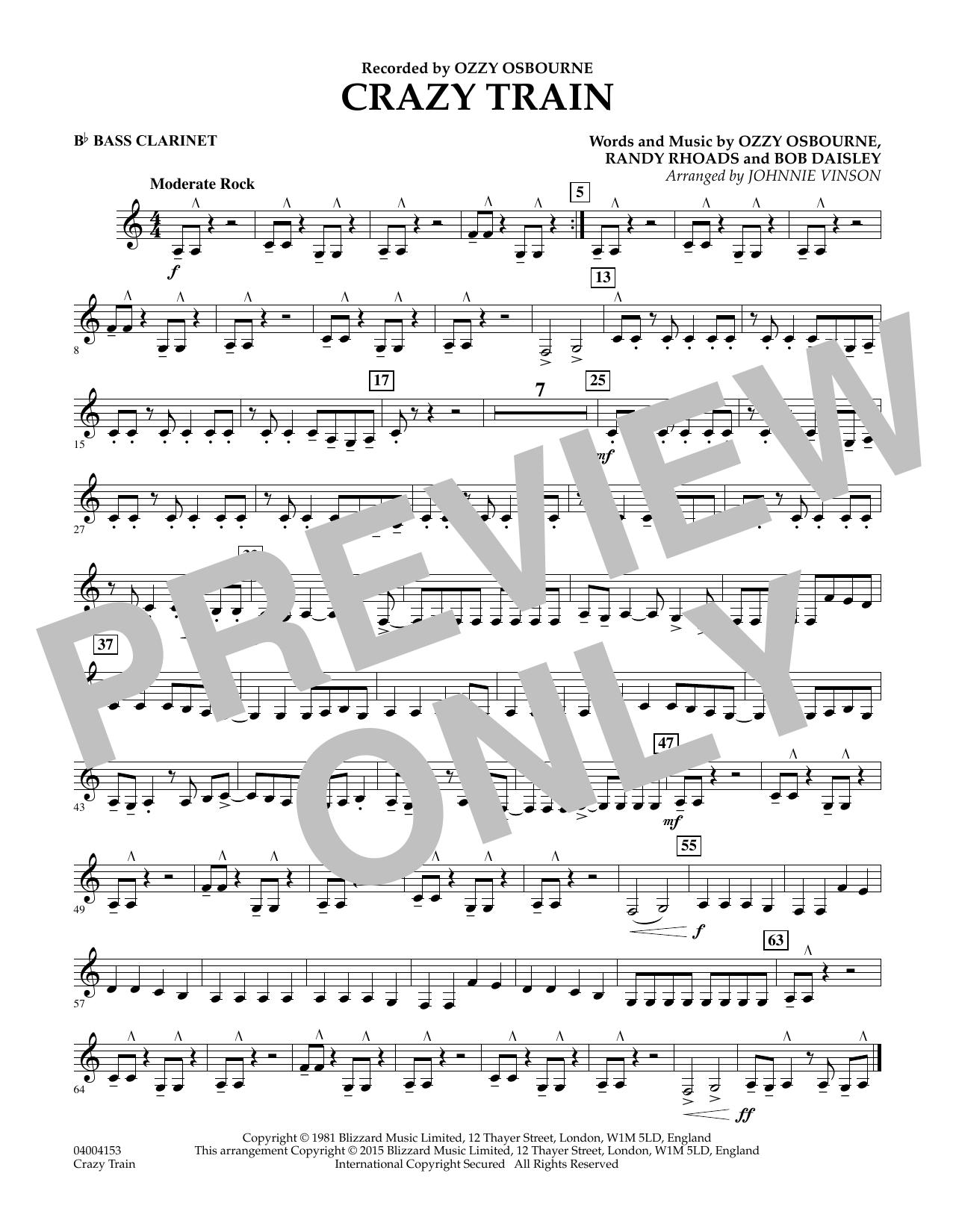 Crazy Train - Bb Bass Clarinet (Concert Band)