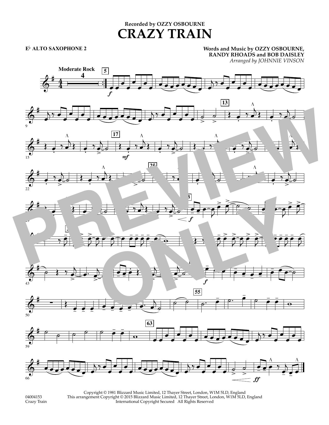 Crazy Train - Eb Alto Saxophone 2 (Concert Band)