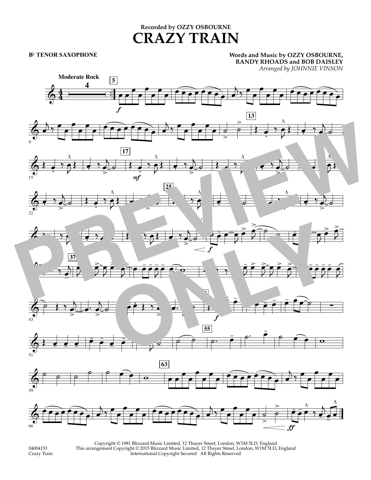 Crazy Train - Bb Tenor Saxophone (Concert Band)