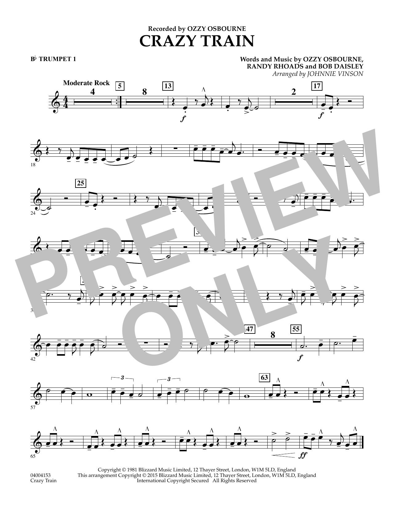 Crazy Train - Bb Trumpet 1 (Concert Band)