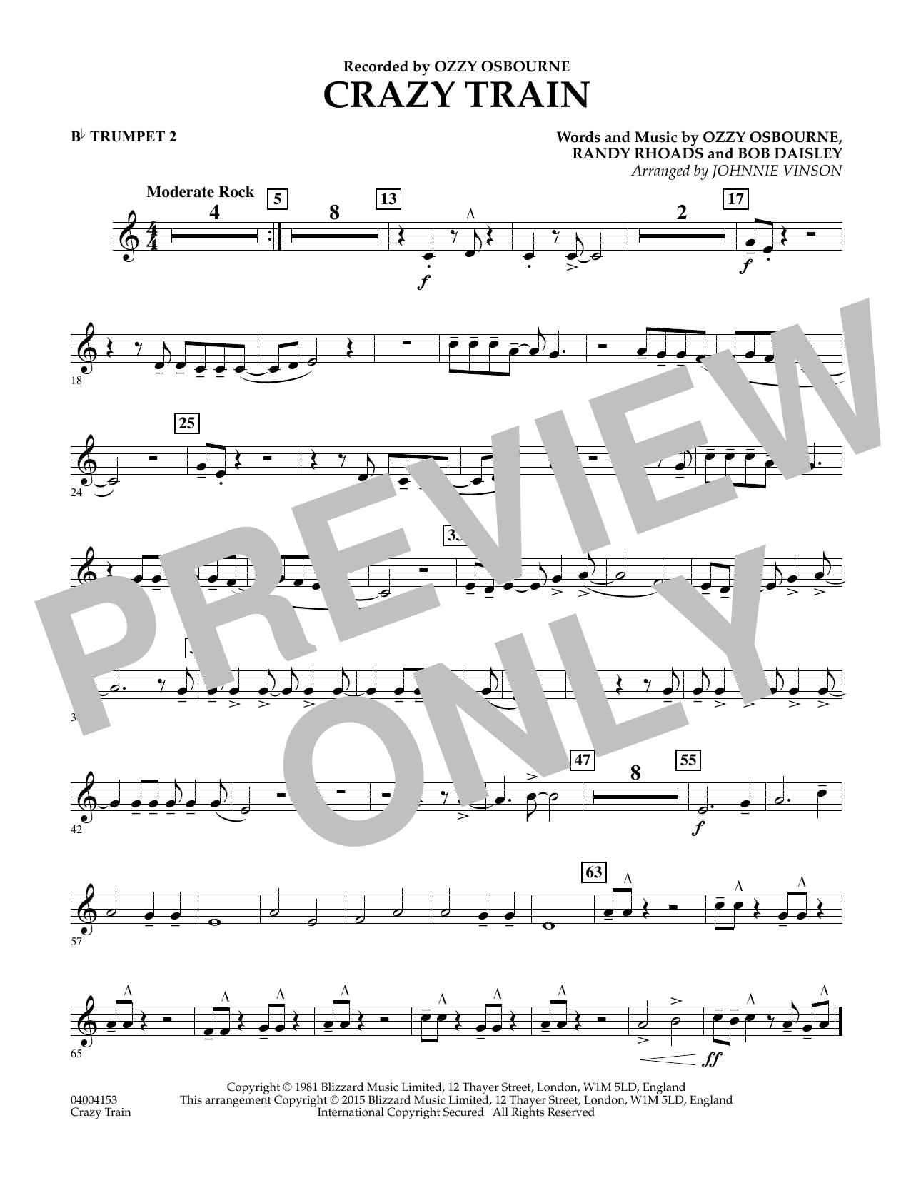 Crazy Train - Bb Trumpet 2 (Concert Band)