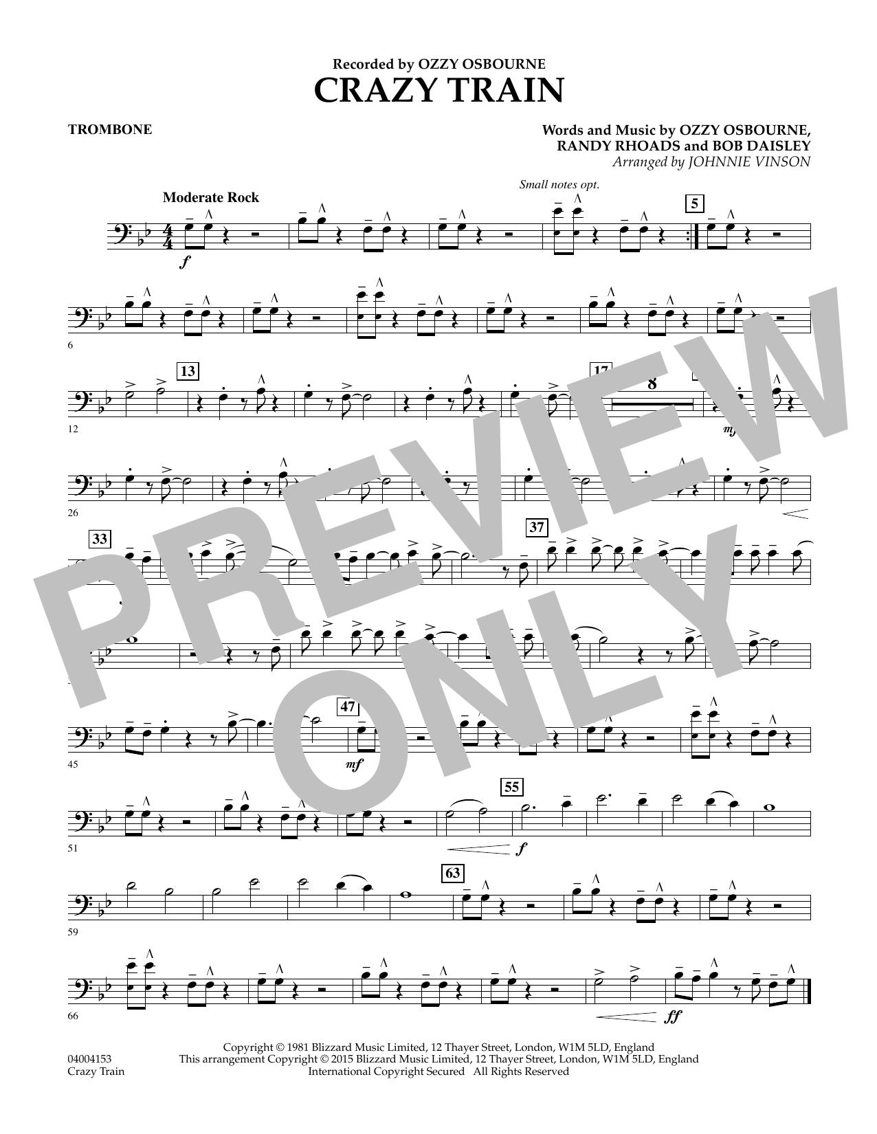 Crazy Train - Trombone (Concert Band)