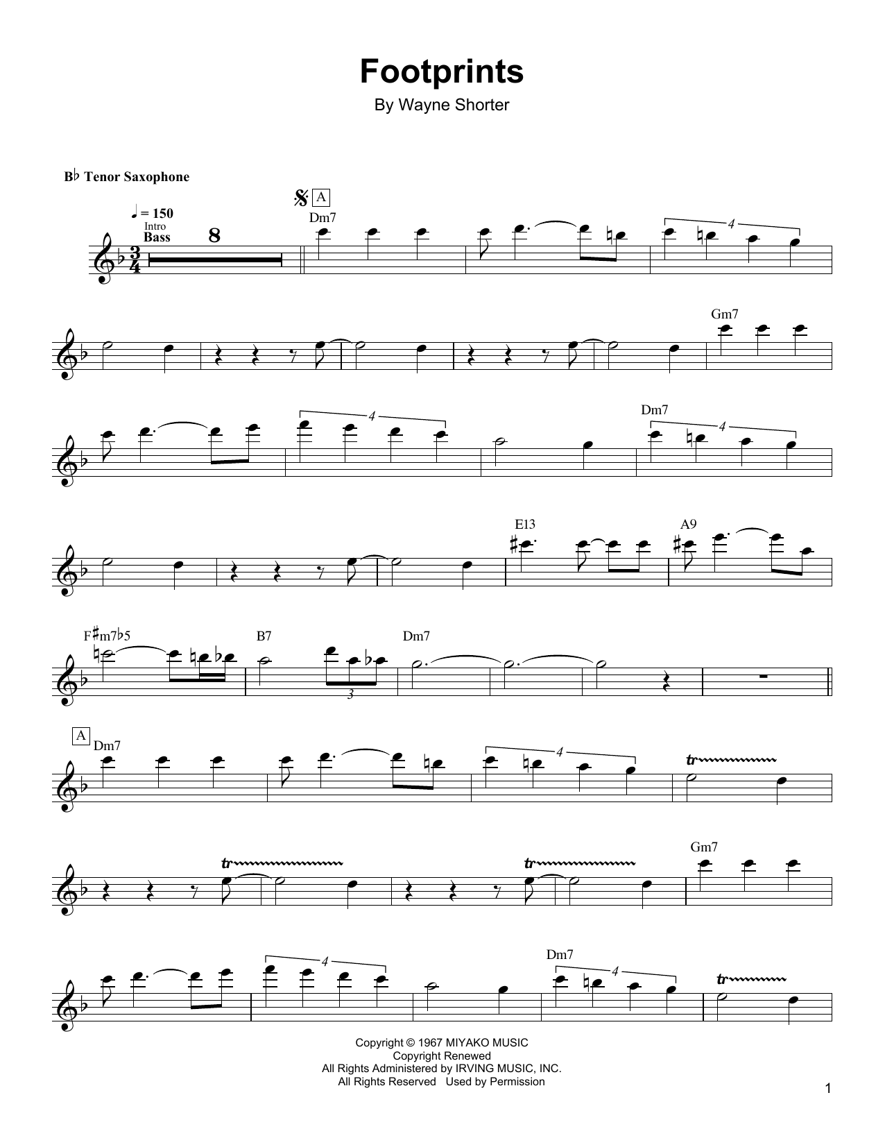 Footprints (Tenor Sax Transcription)