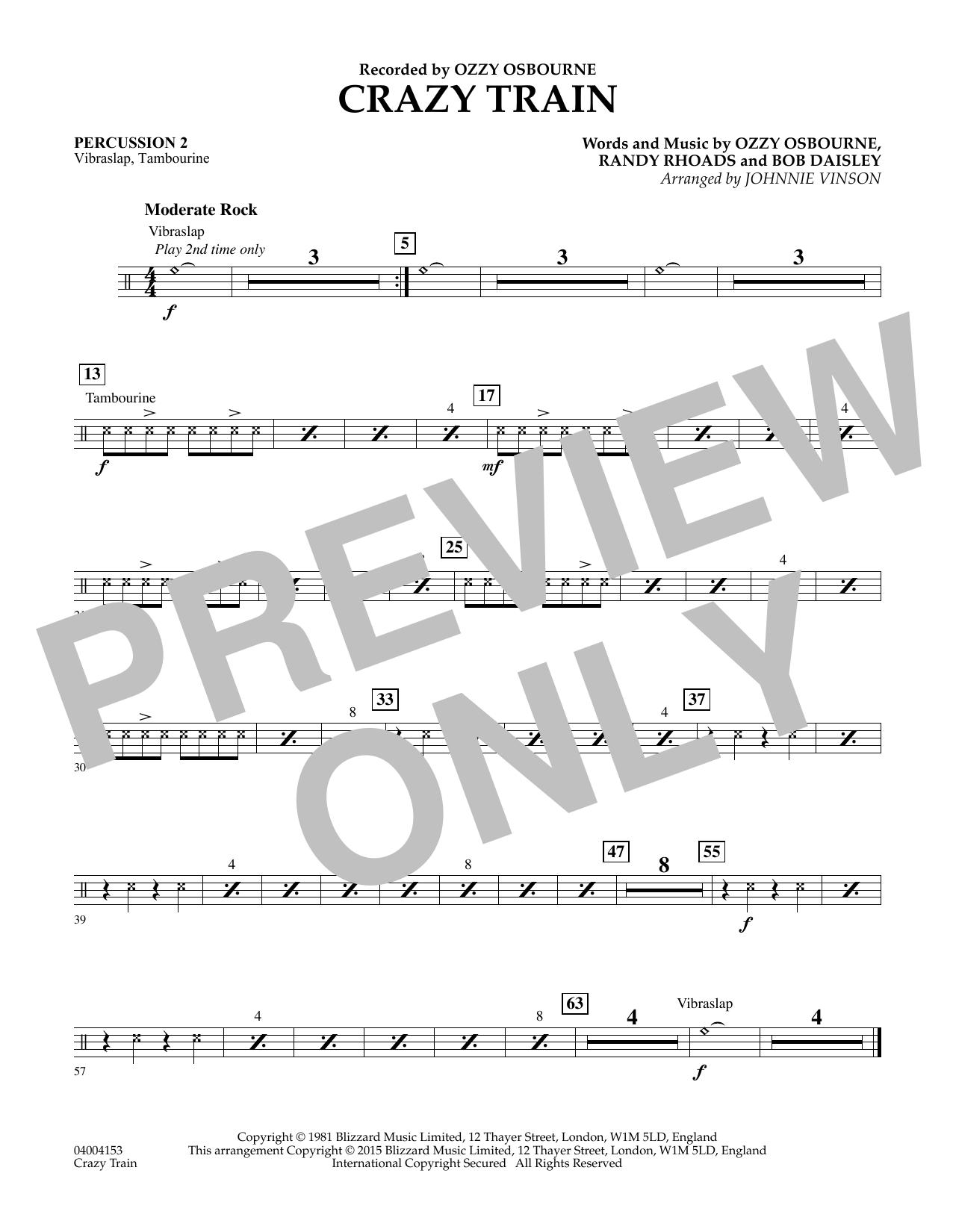 Crazy Train - Percussion 2 (Concert Band)