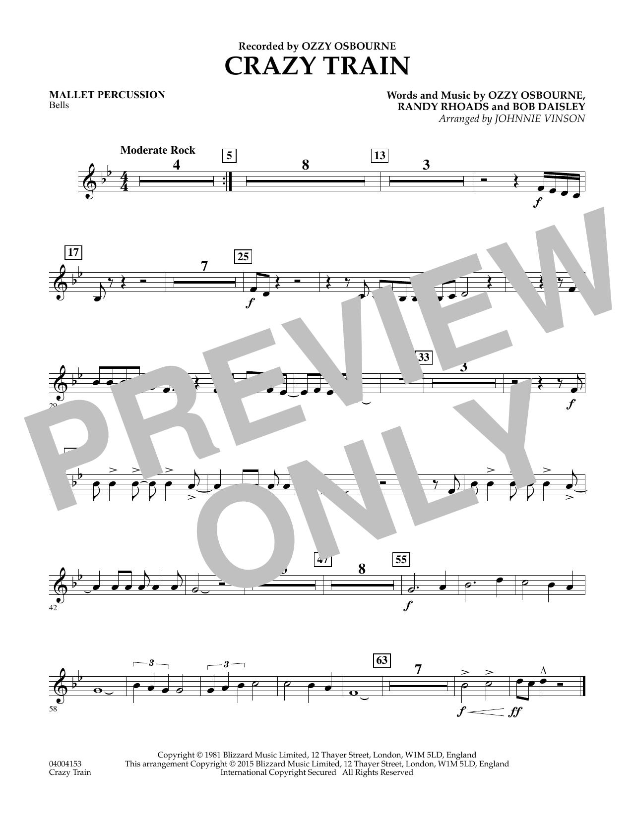 Crazy Train - Mallet Percussion (Concert Band)