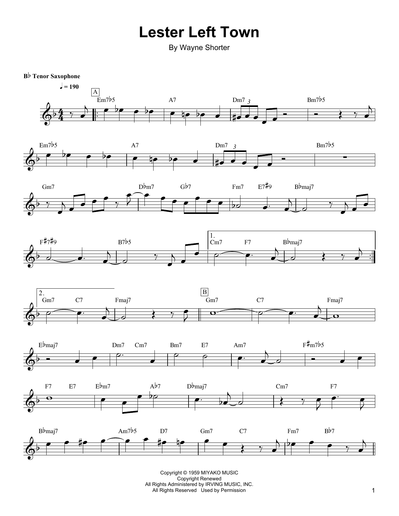 Lester Left Town Sheet Music
