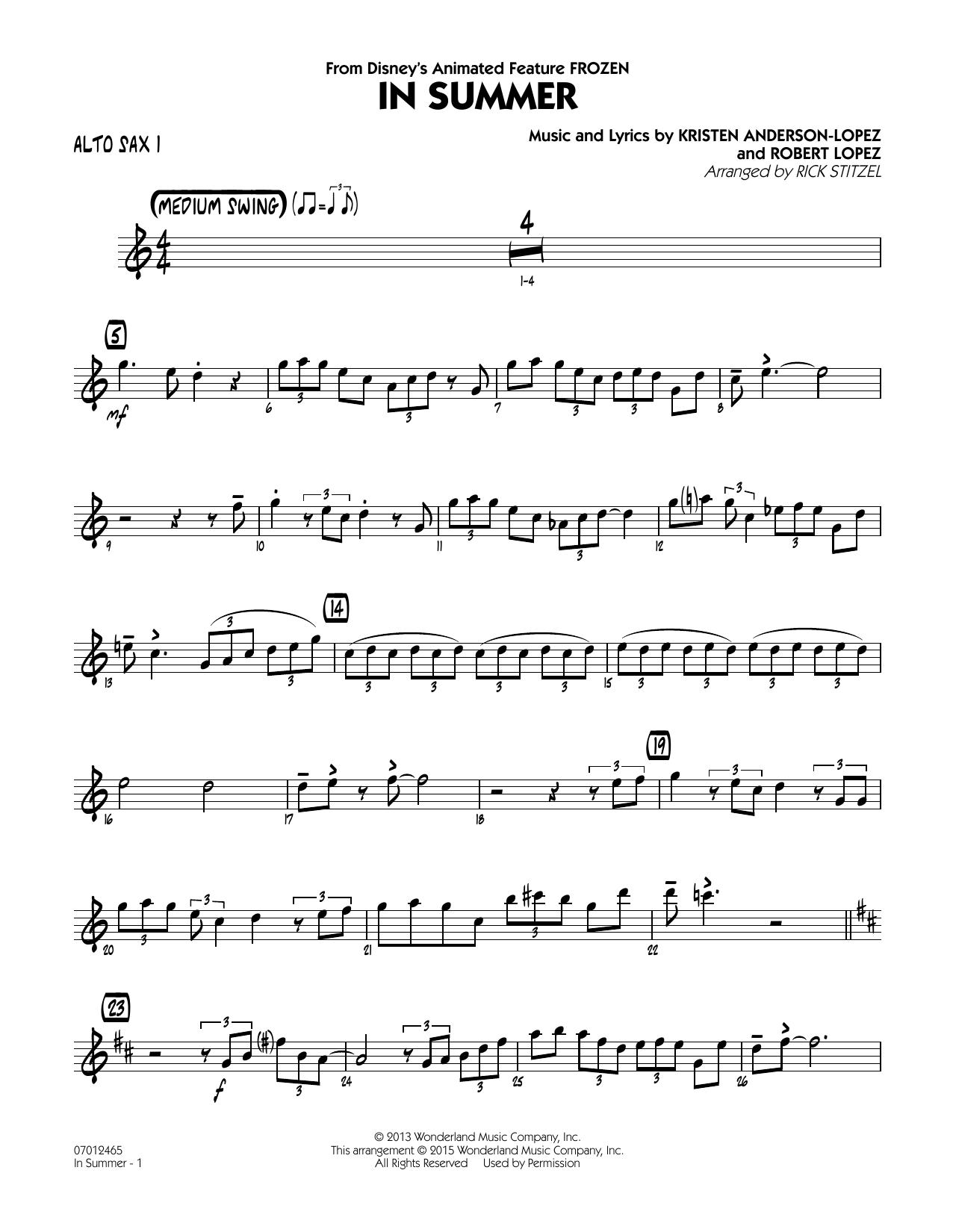 In Summer (from Frozen) - Alto Sax 1 (Jazz Ensemble)