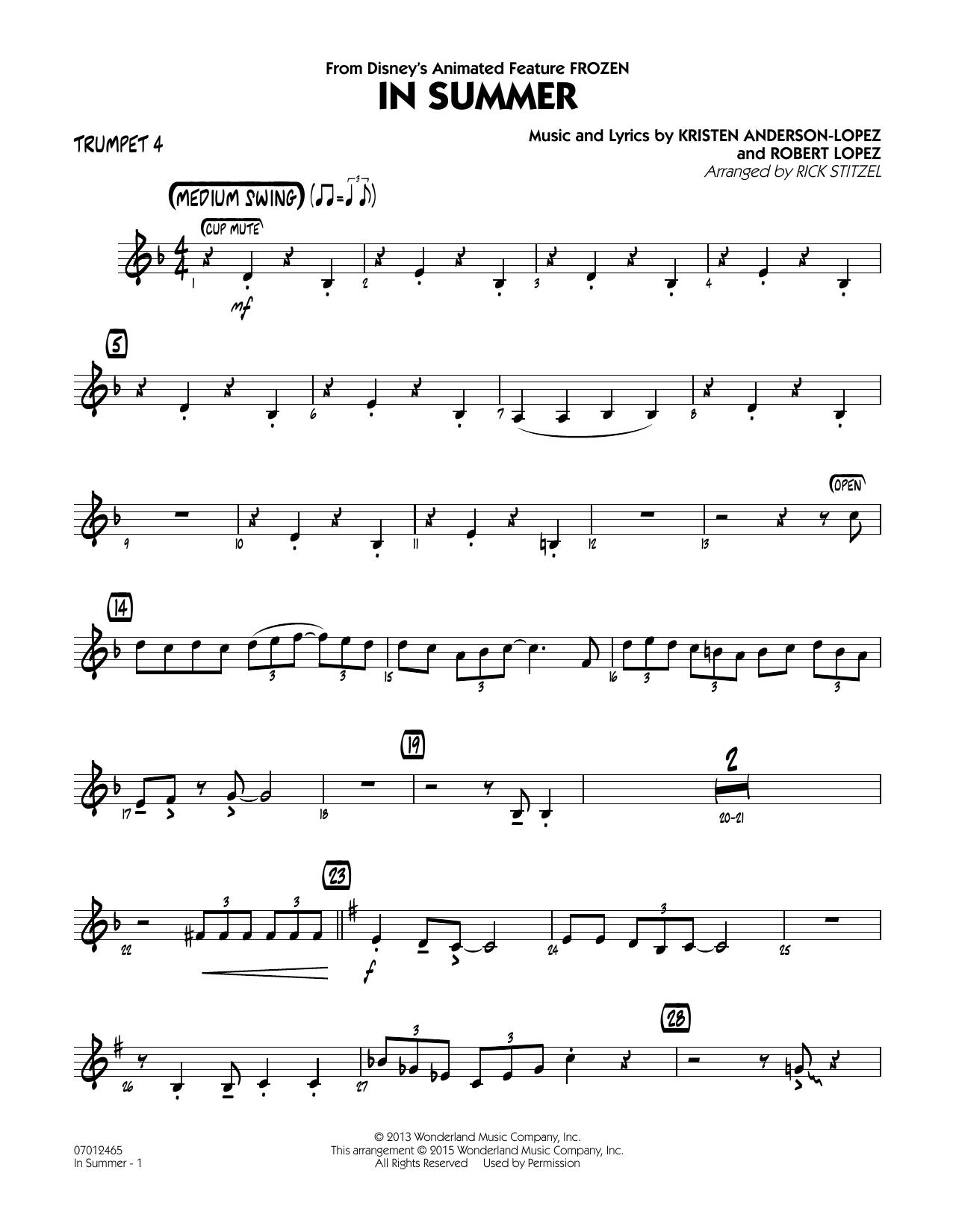 In Summer (from Frozen) - Trumpet 4 (Jazz Ensemble)