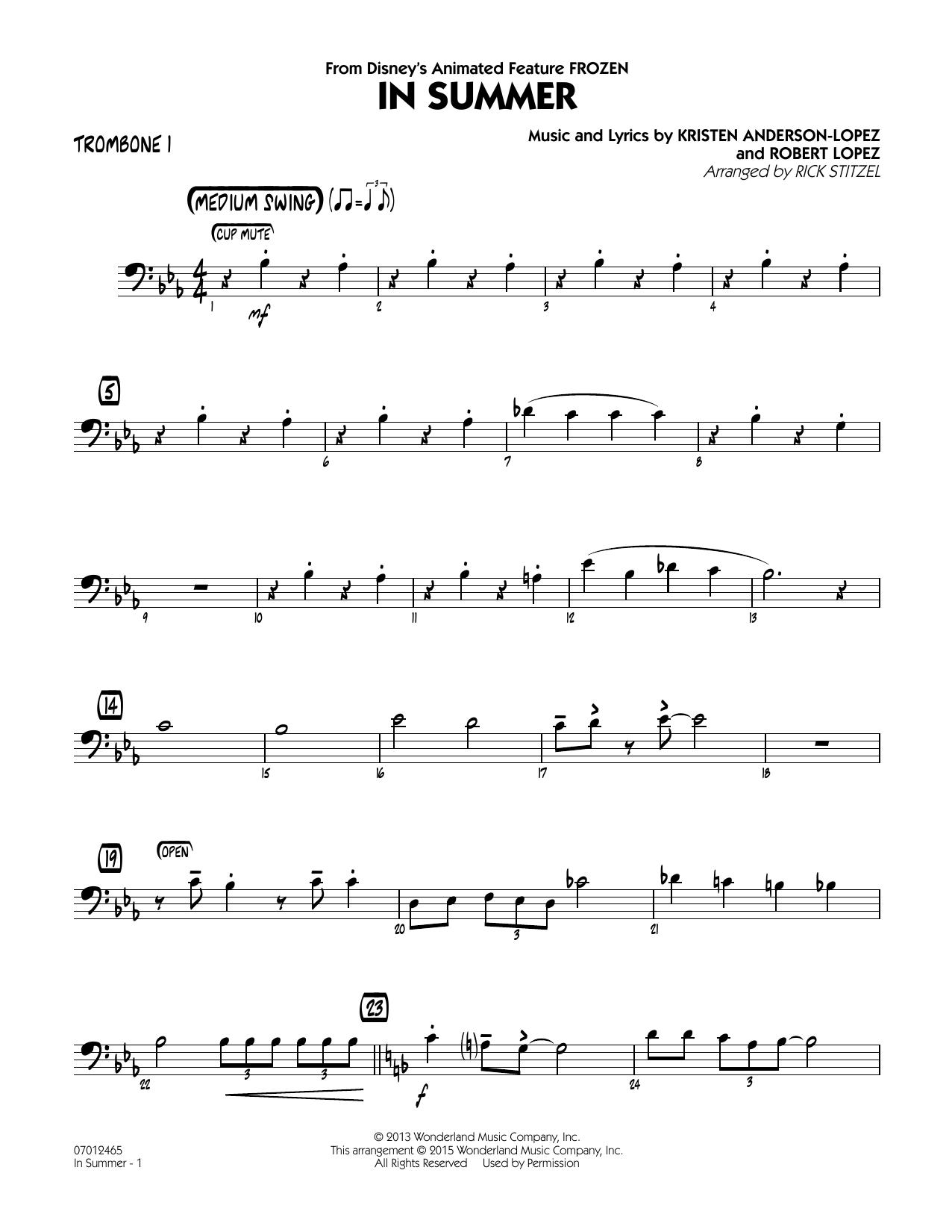 In Summer (from Frozen) - Trombone 1 (Jazz Ensemble)